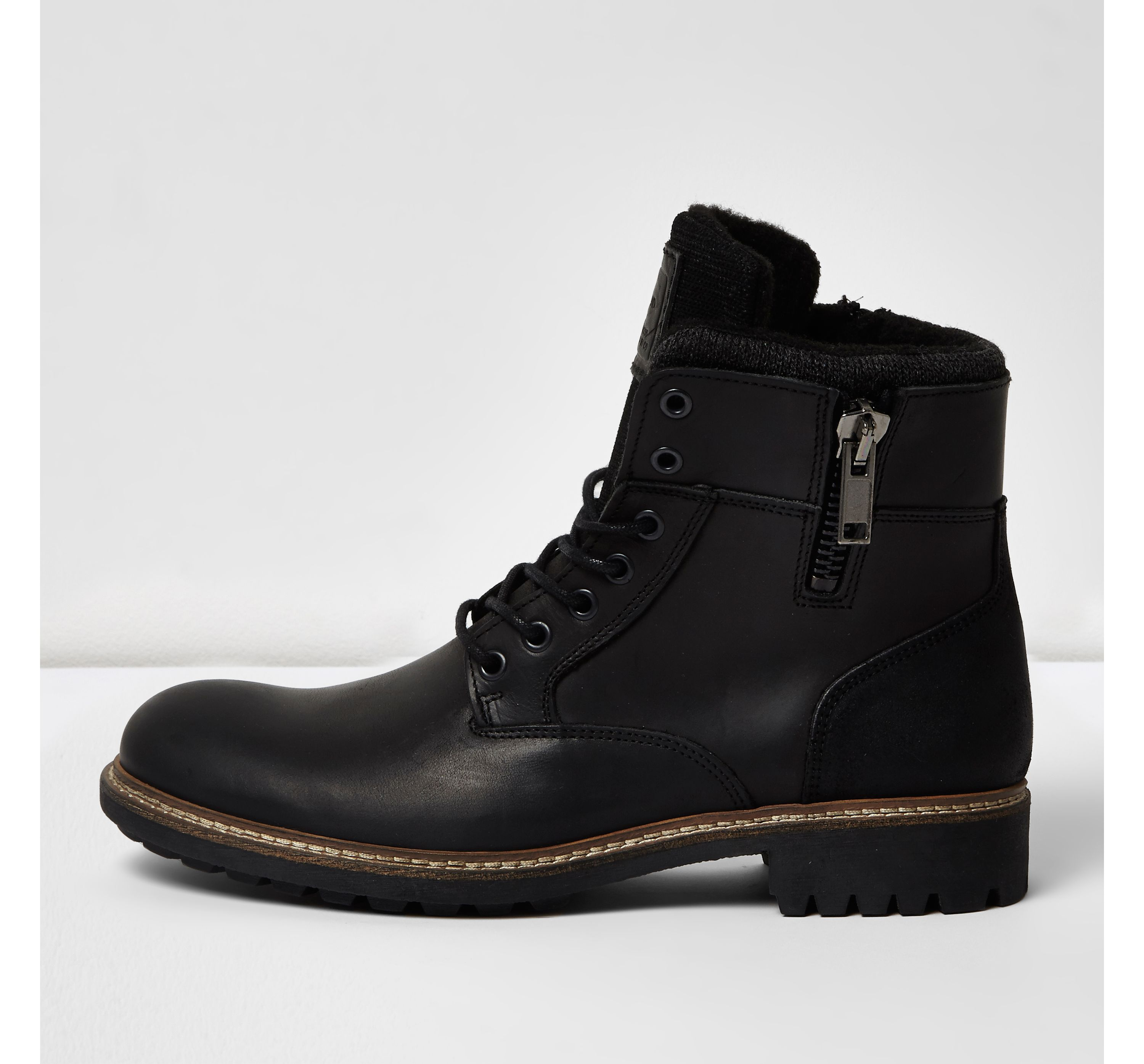 mens black leather military boots