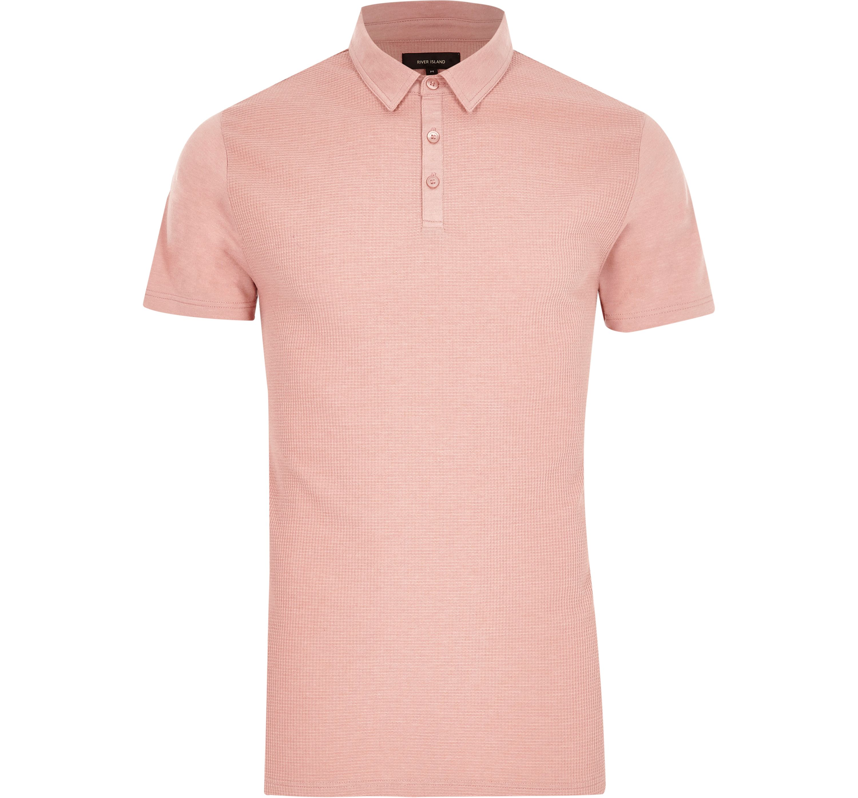 River Island Mens Pink waffle slim fit polo shirt