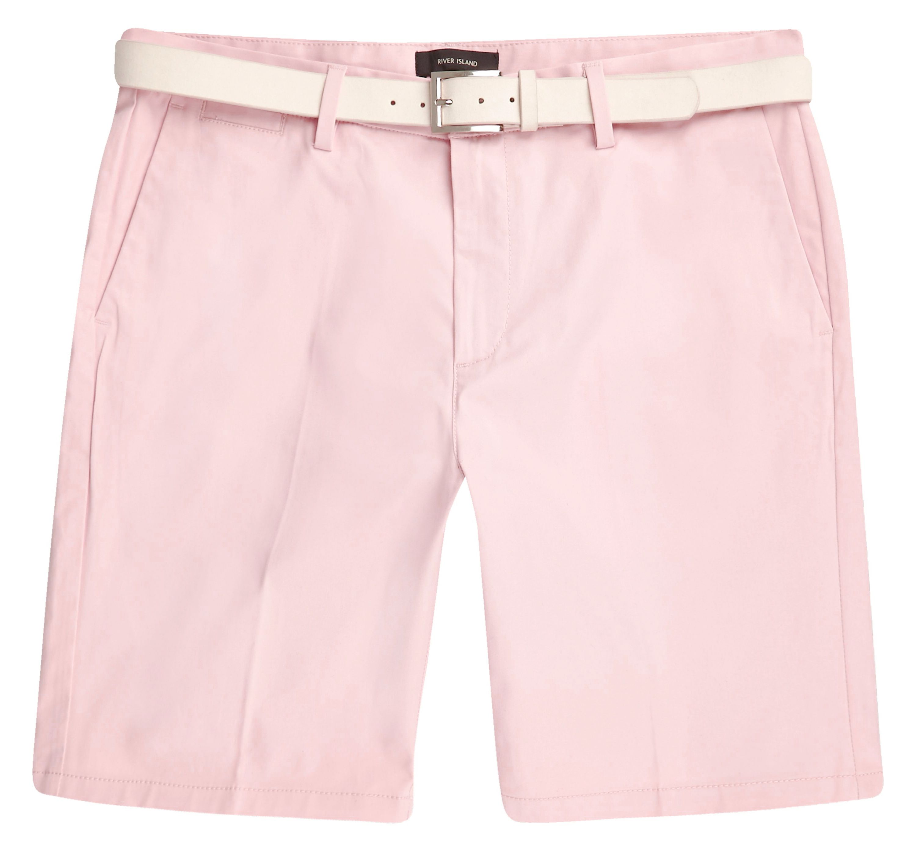 River Island Mens Pink belted chino shorts