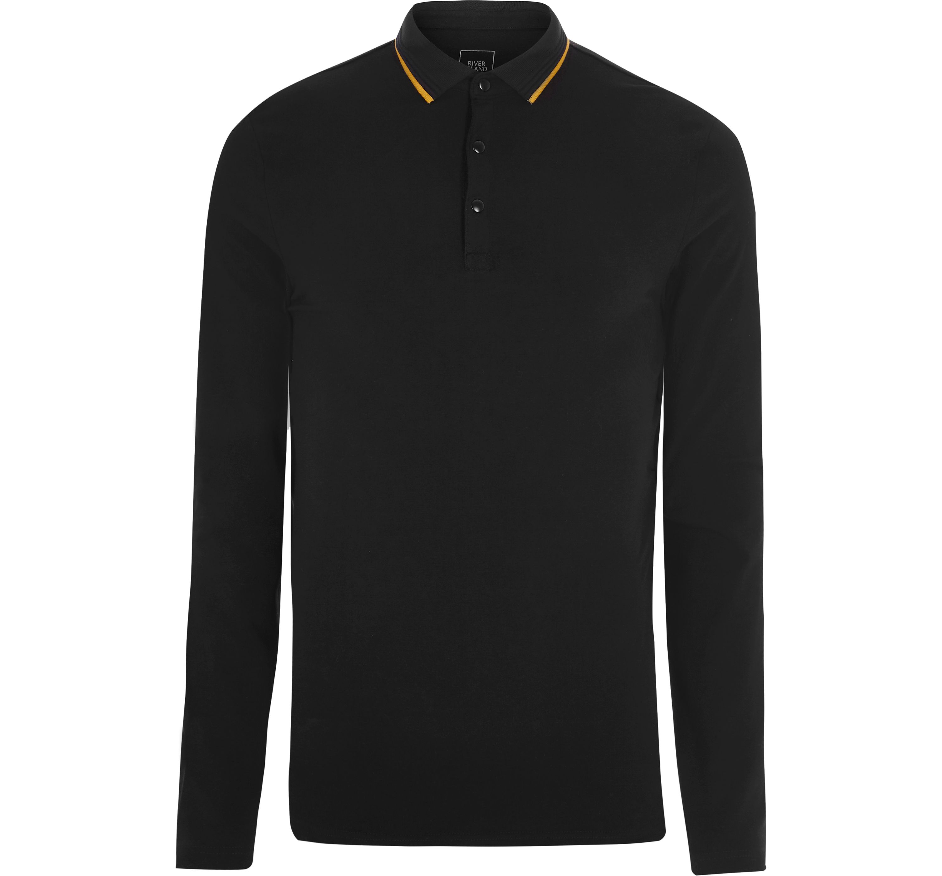 River Island Mens Black tipped muscle long sleeve polo shirt