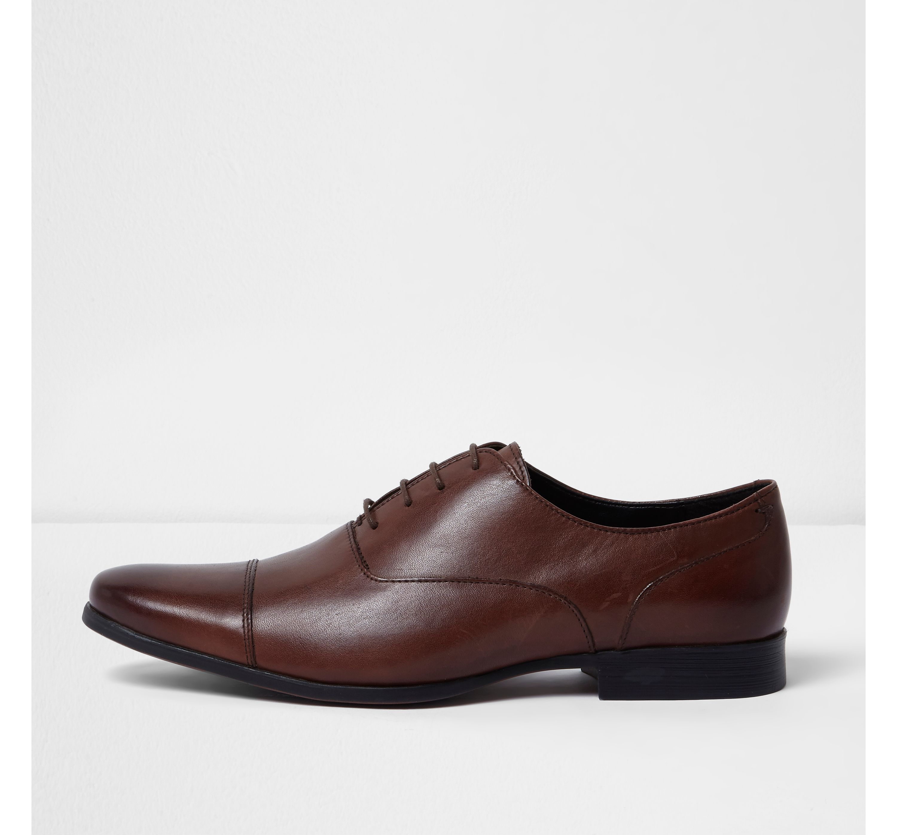 River Island Mens Dark Brown smart leather Oxford shoes
