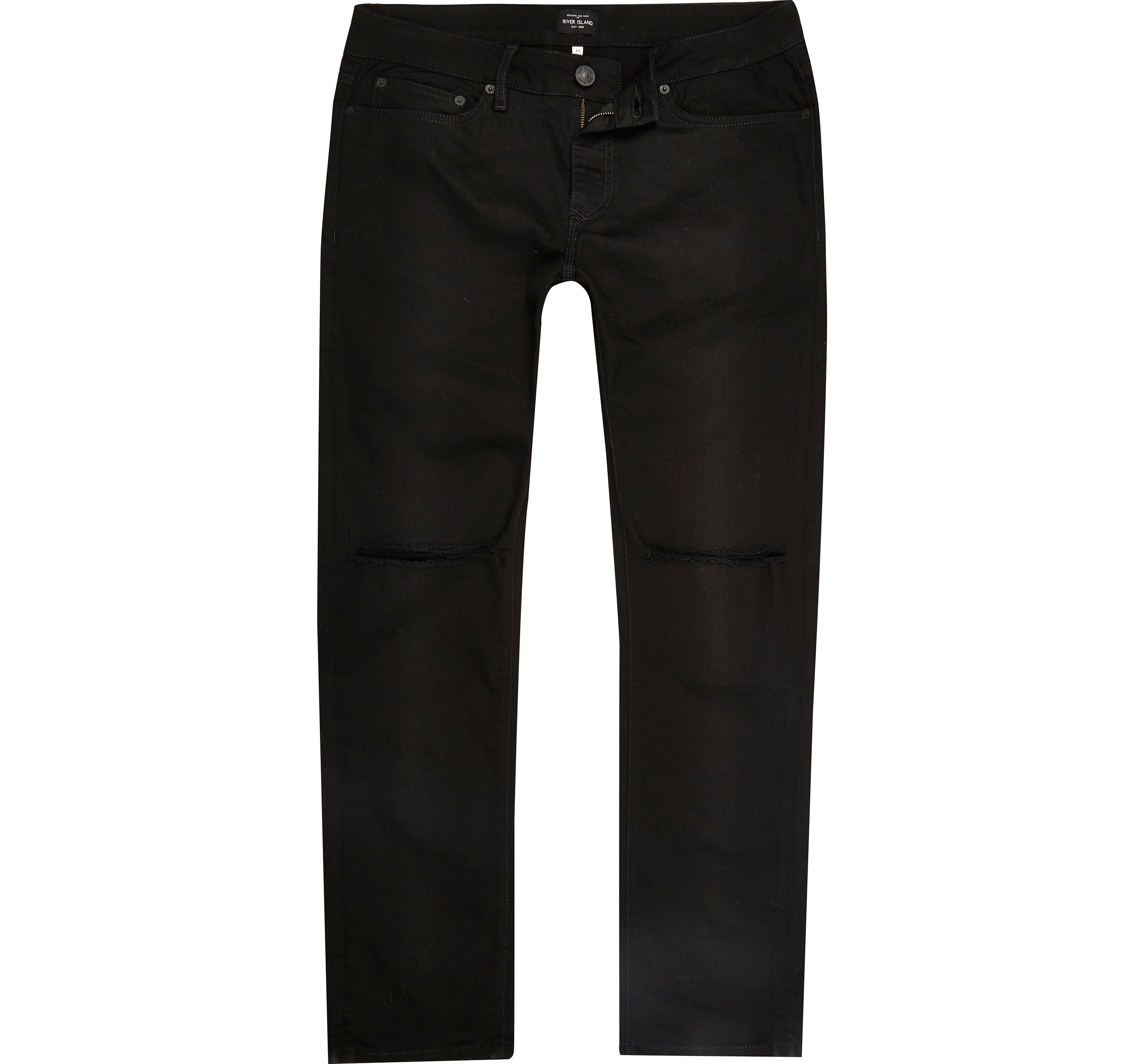 River Island Mens Black wash ripped Dylan slim fit jeans