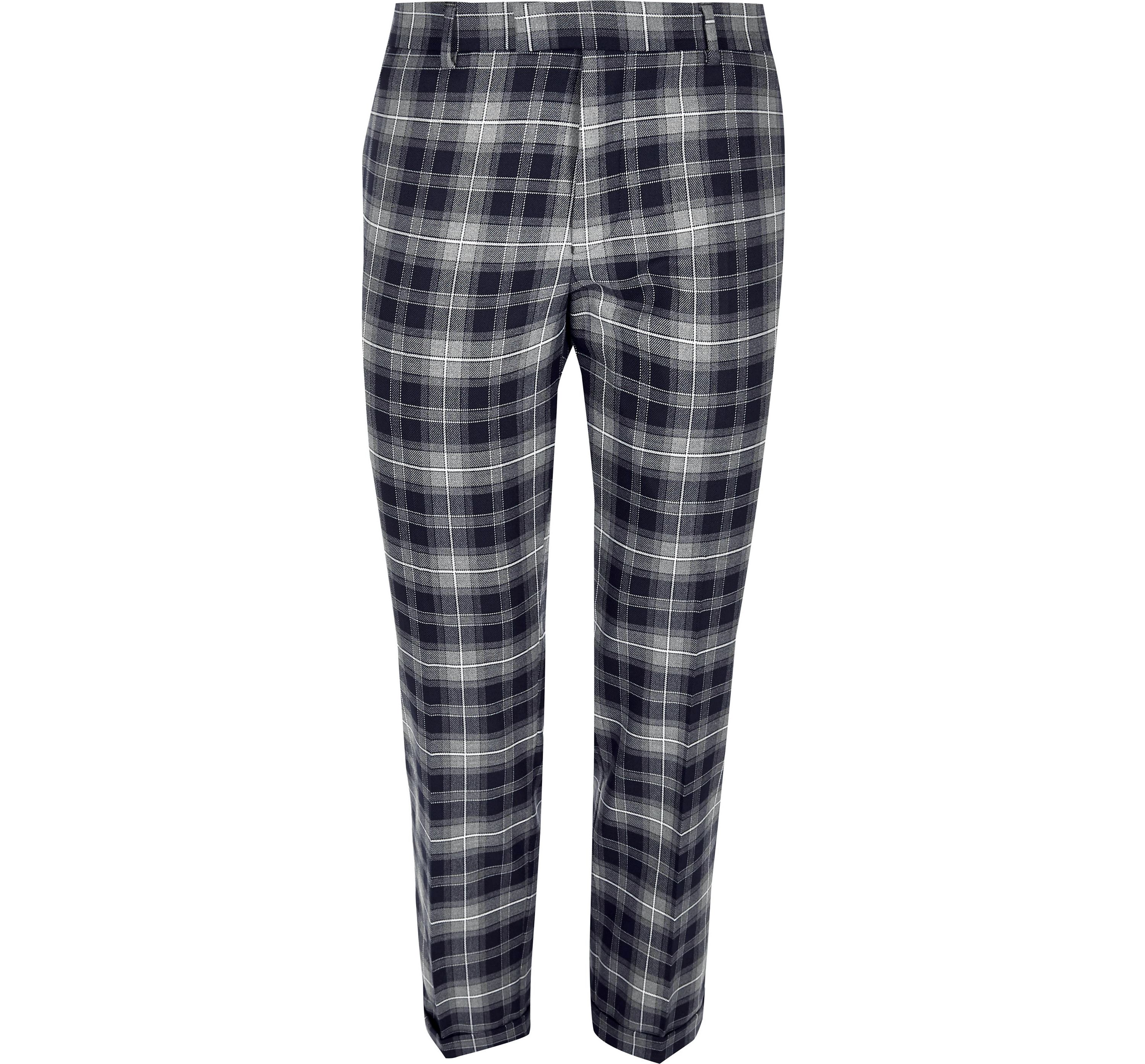 River Island Mens Blue check skinny fit cropped suit trousers