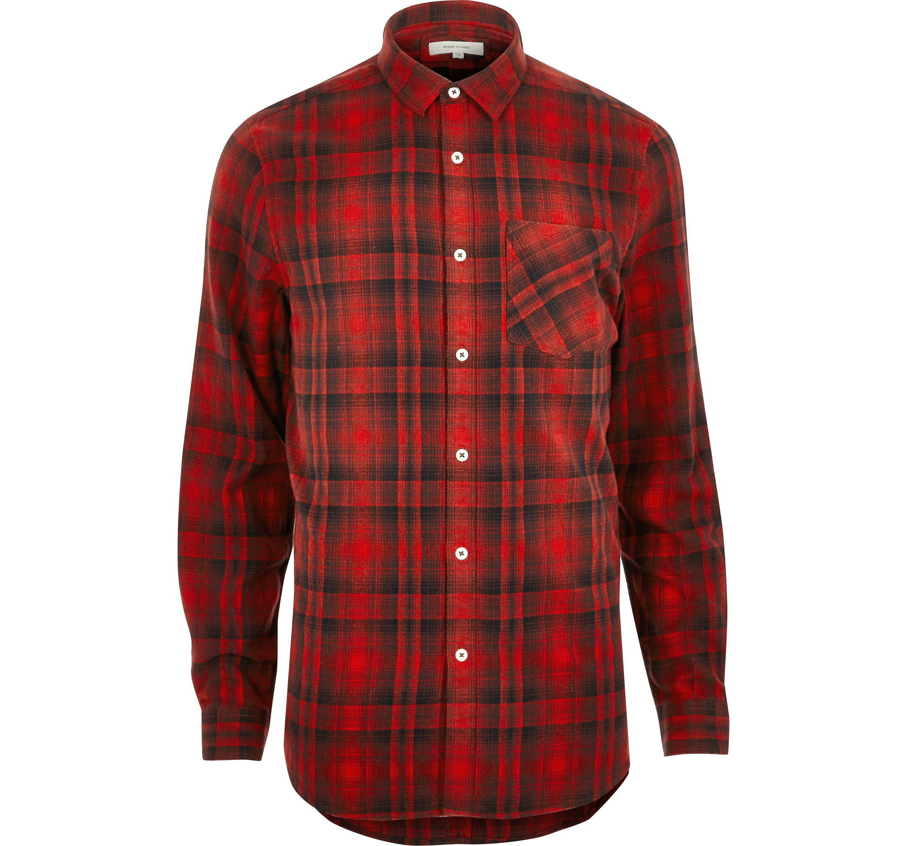 River Island Mens Big and Tall Red check casual shirt