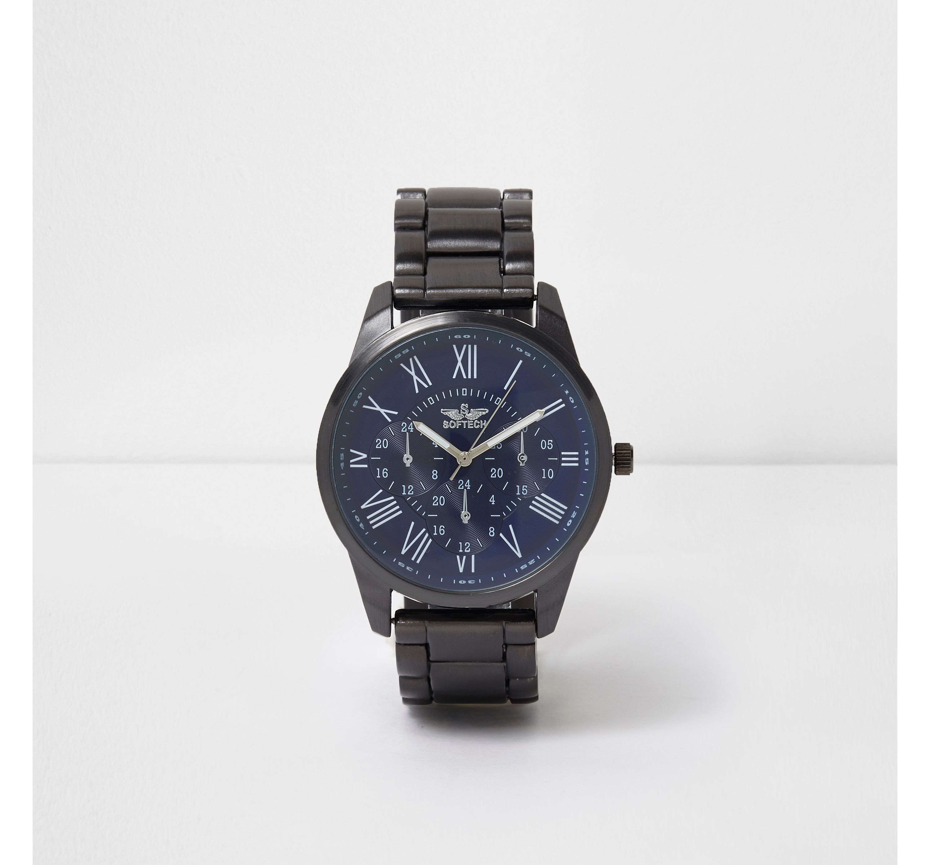 River Island Mens Blue round face metal watch