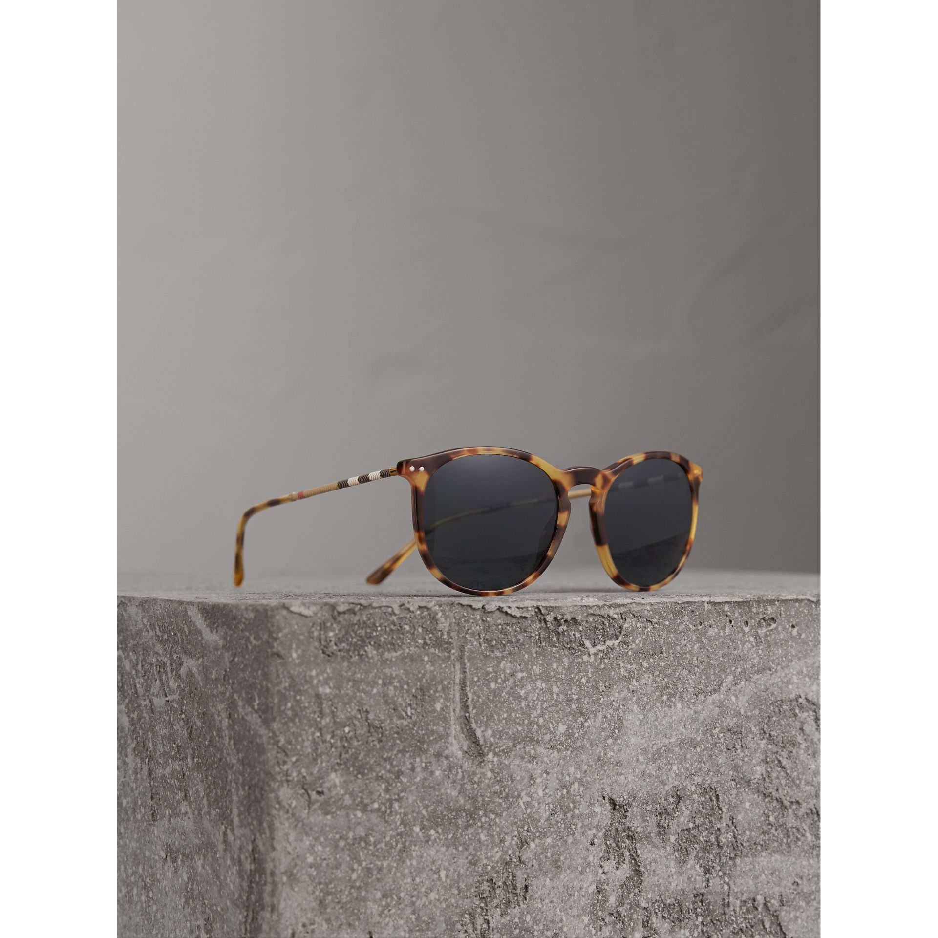 Burberry Dark Brown Check Detail Round Frame Sunglasses
