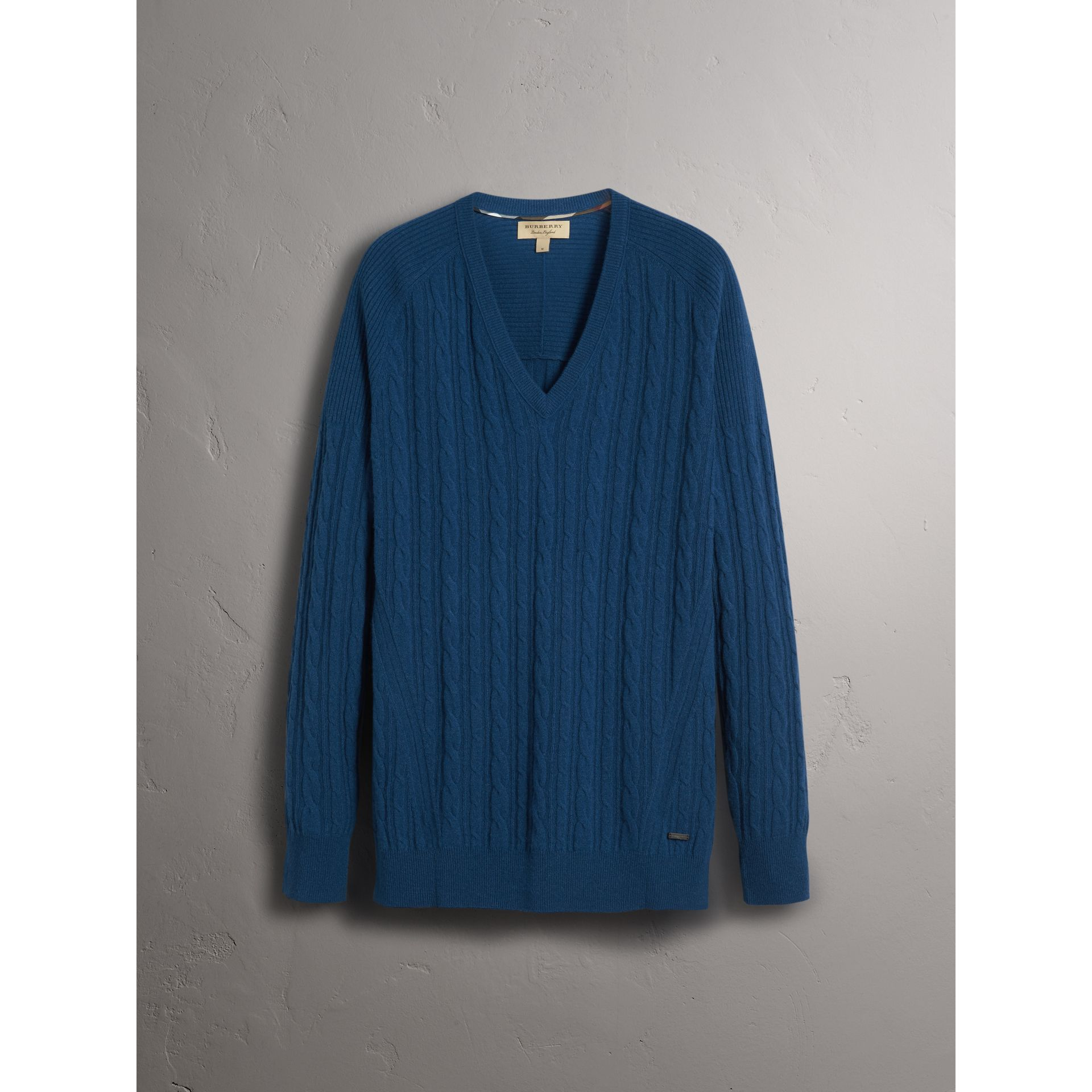 Burberry Bright Navy Cable and Rib Knit Cashmere V-neck Sweater