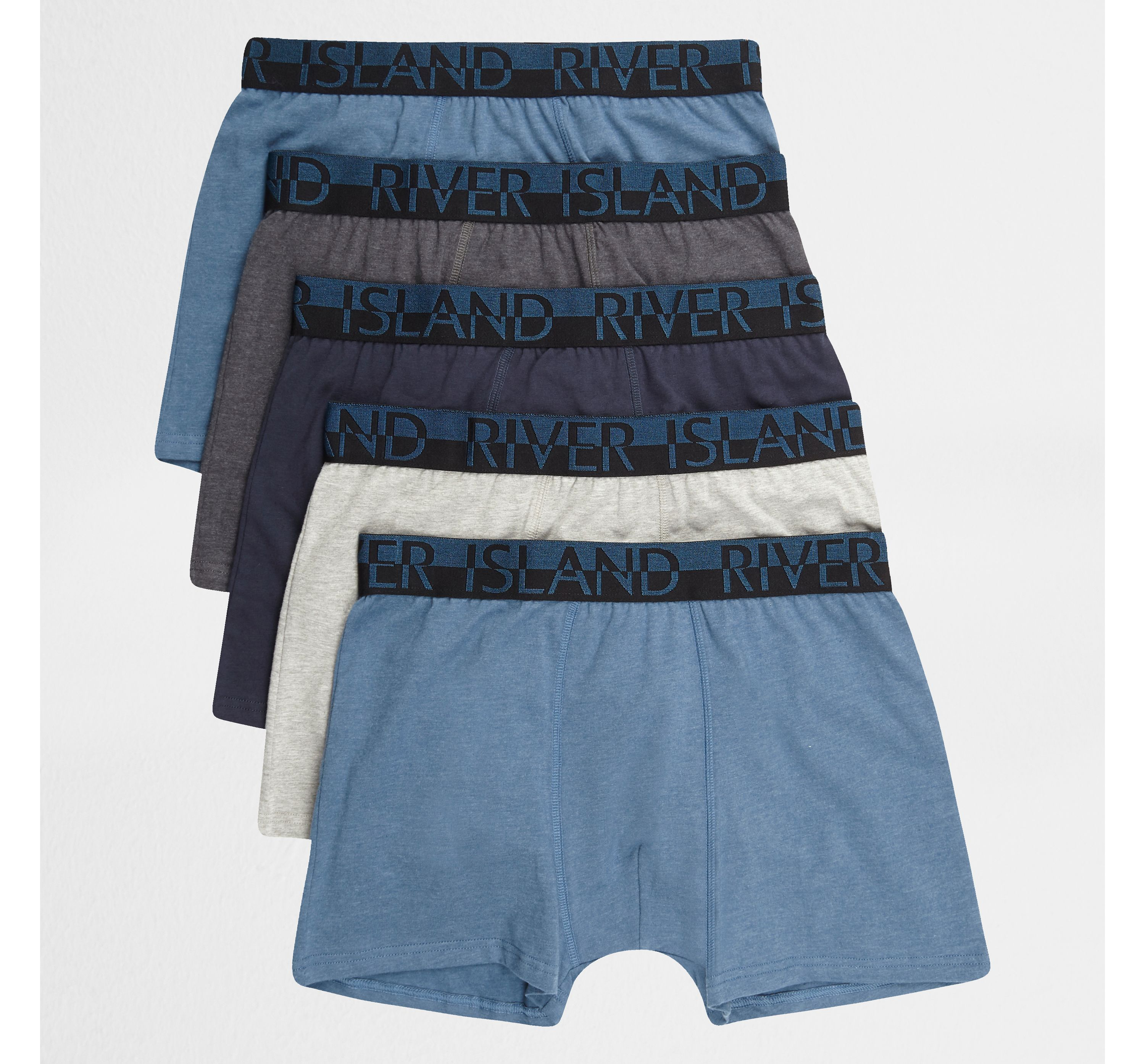 River Island Mens Blue RI branded trunks multipack