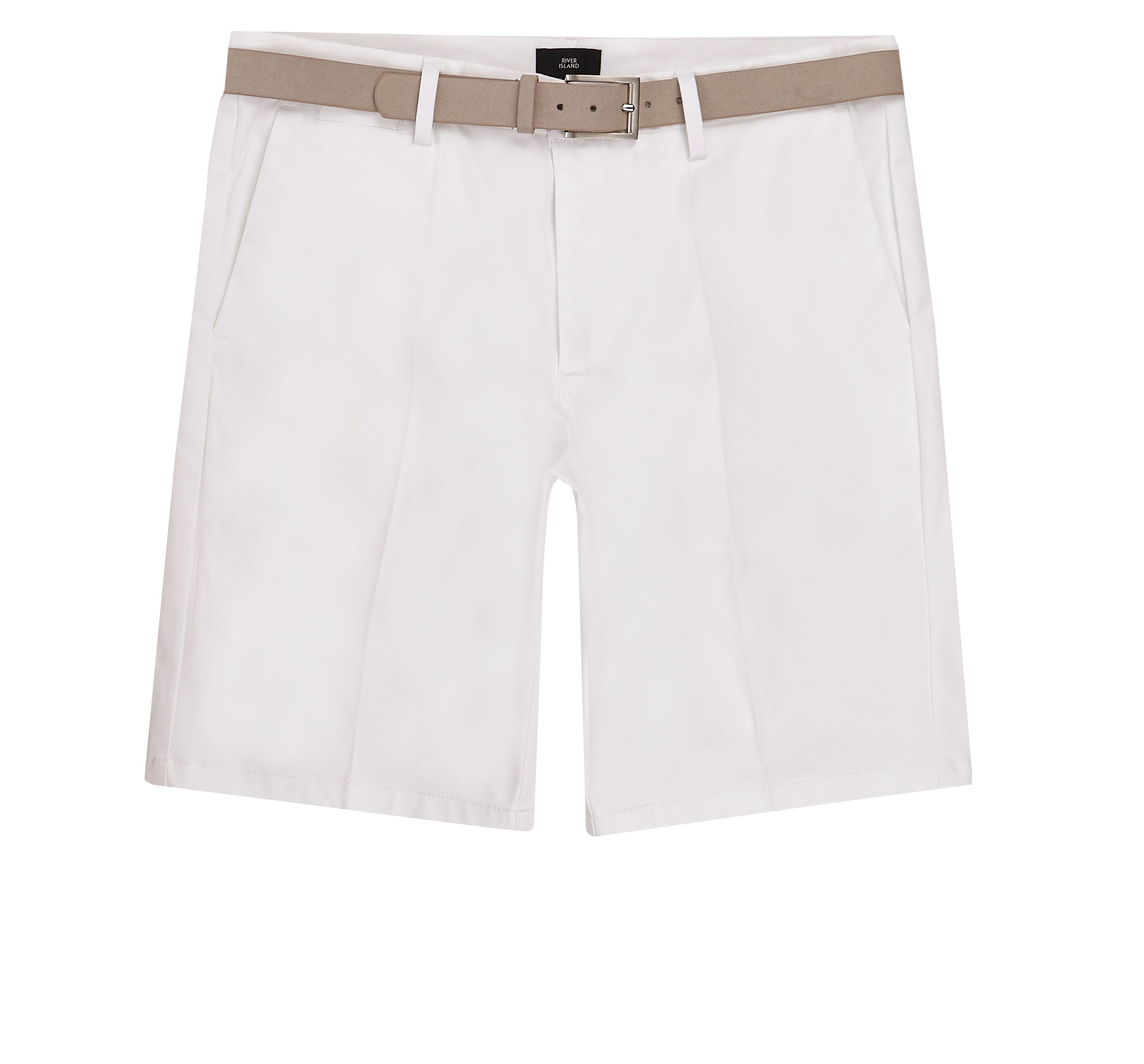 River Island Mens White belted chino shorts