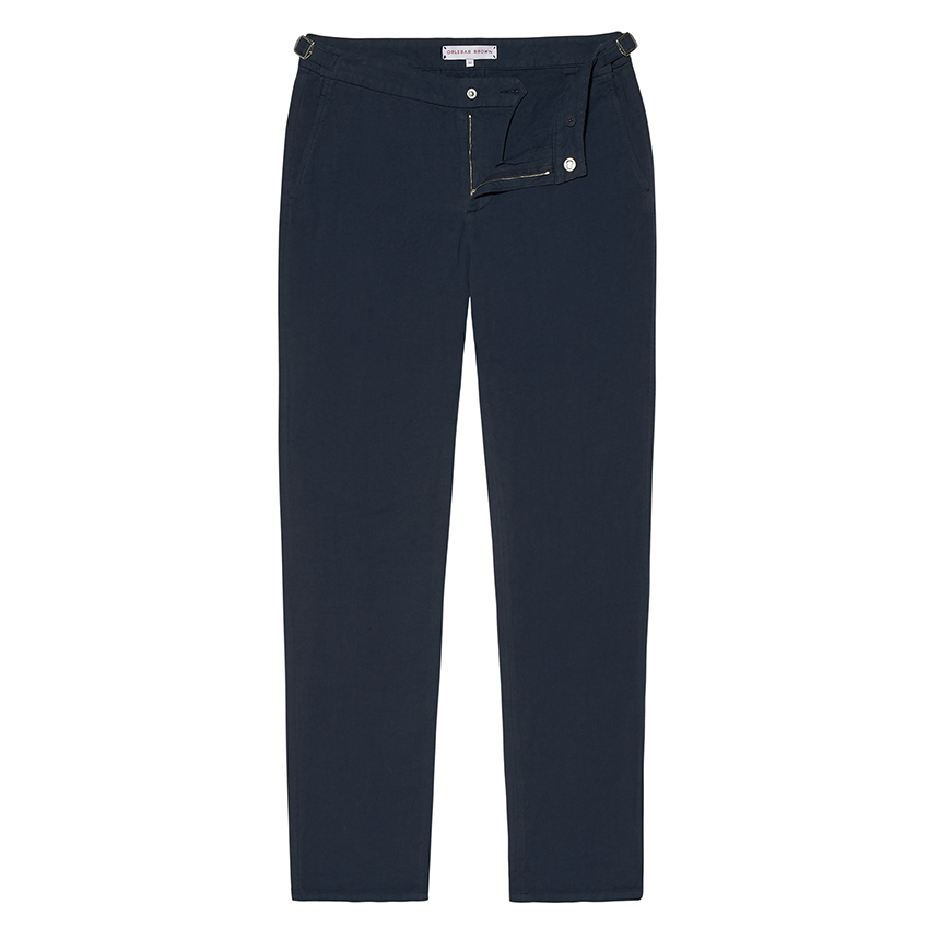 Orlebar Brown BEDLINGTON Navy Tailored Fit Linen Trousers