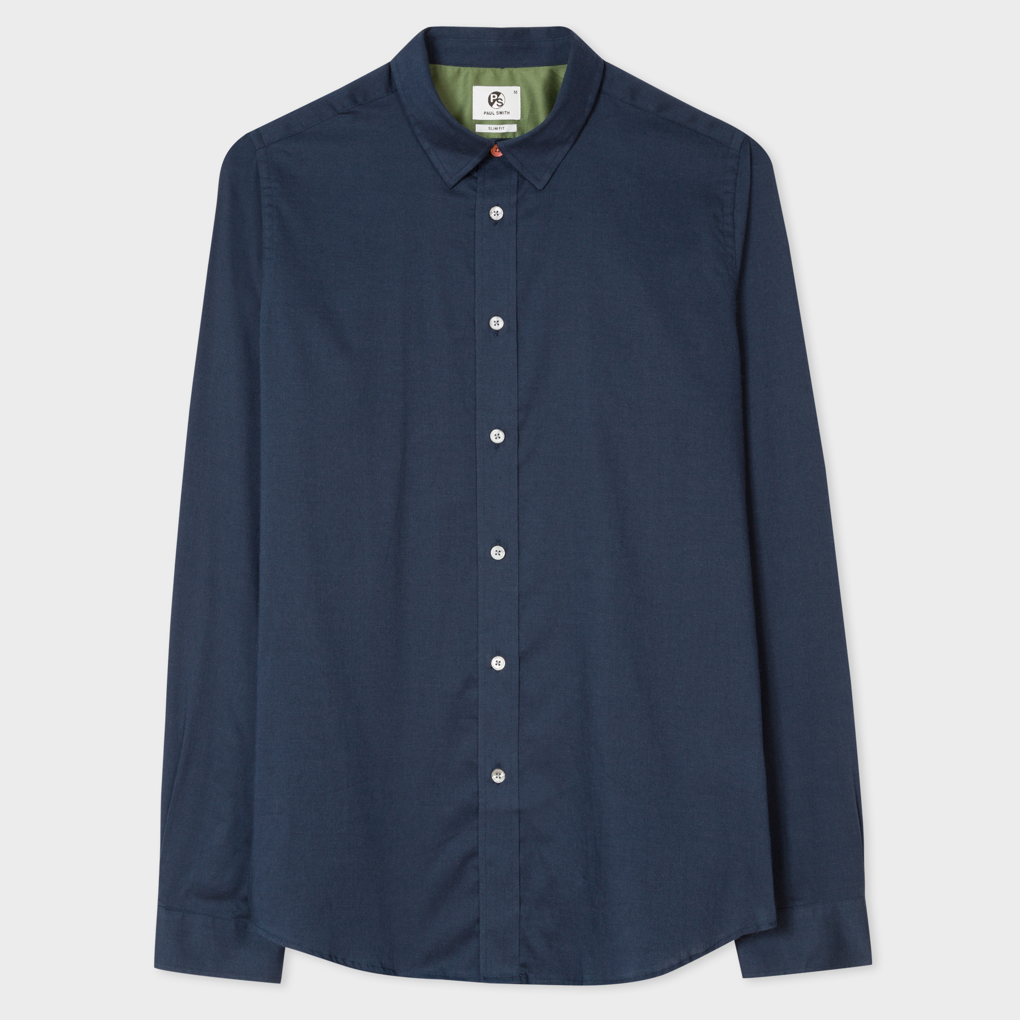 Paul Smith Men's Slim-Fit Washed Navy Cotton And Wool-Blend Shirt