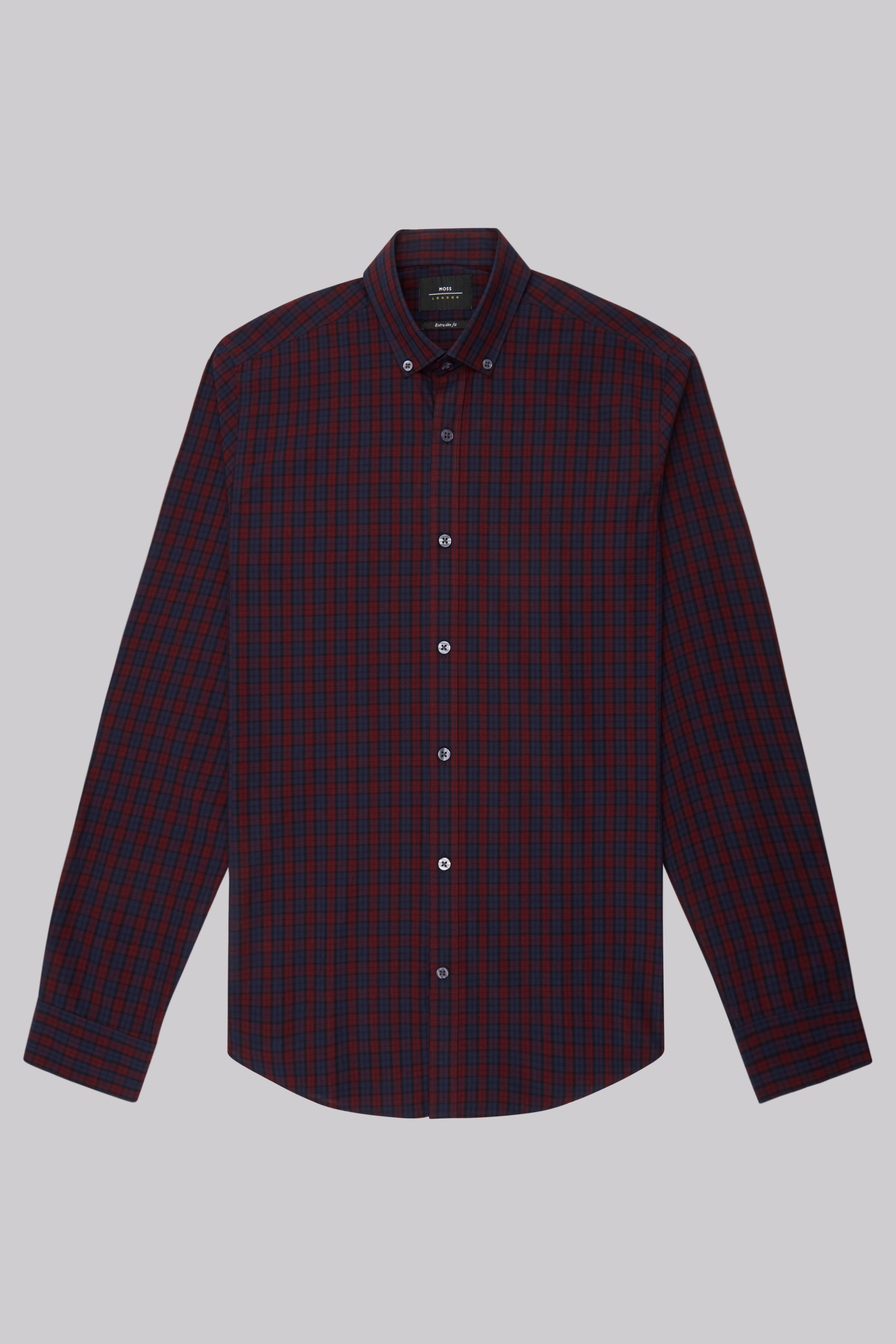 Moss Bros Moss London Extra Slim Fit Wine and Navy Check Button Down Casual Shirt