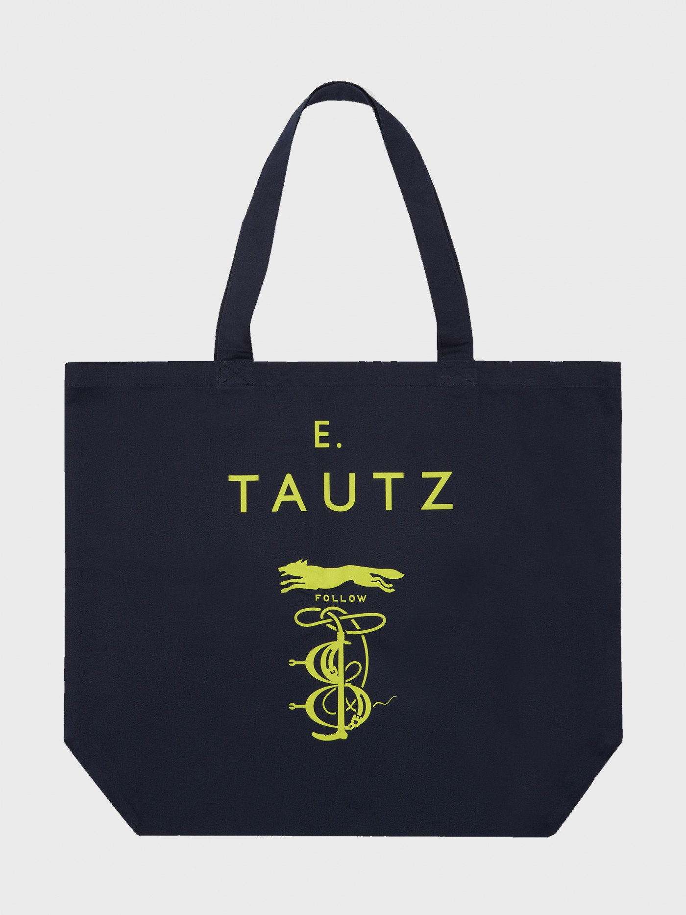 E. Tautz Navy/Neon Yellow Tote Bag
