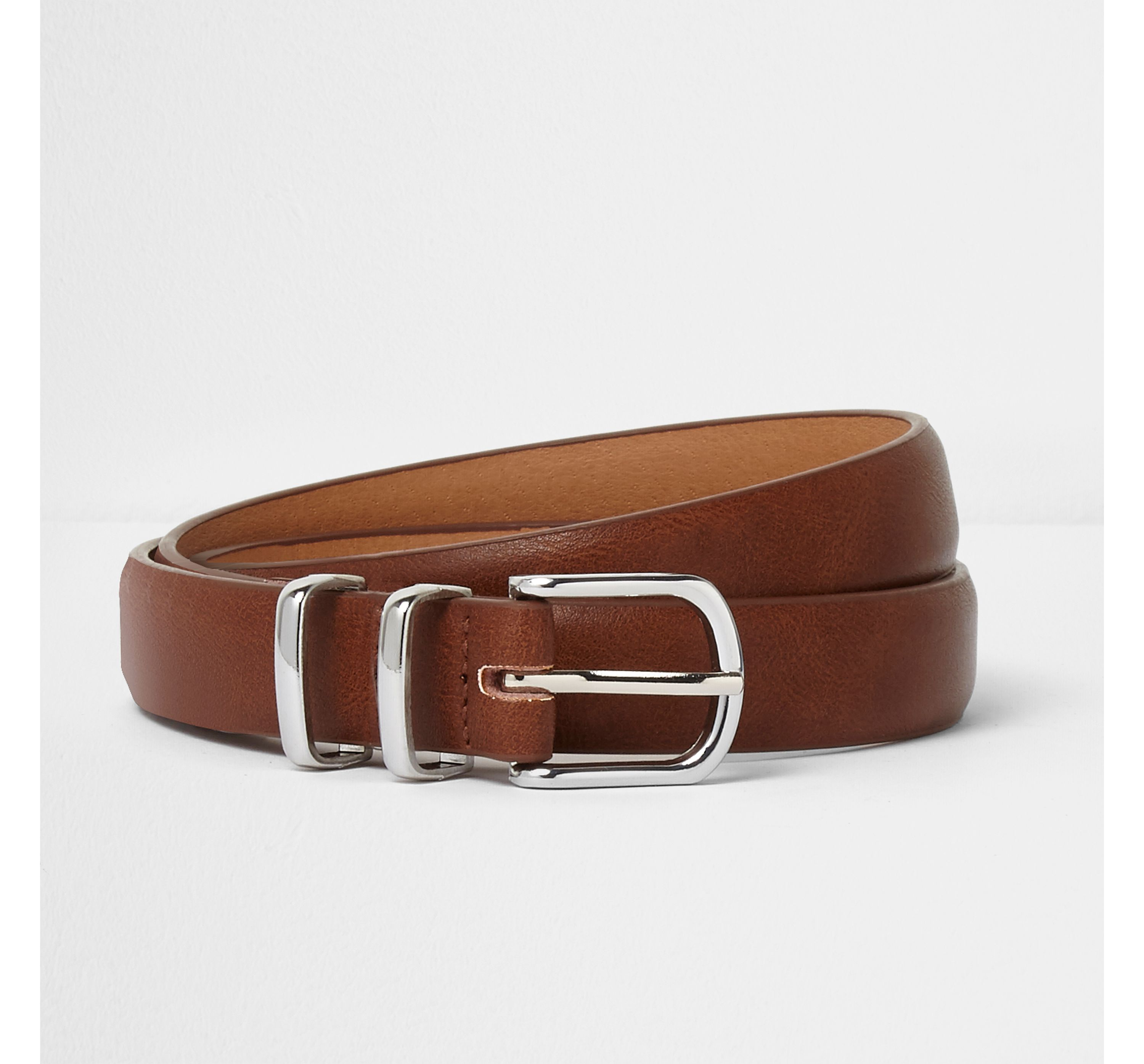River Island Mens Brown silver tone double keeper belt