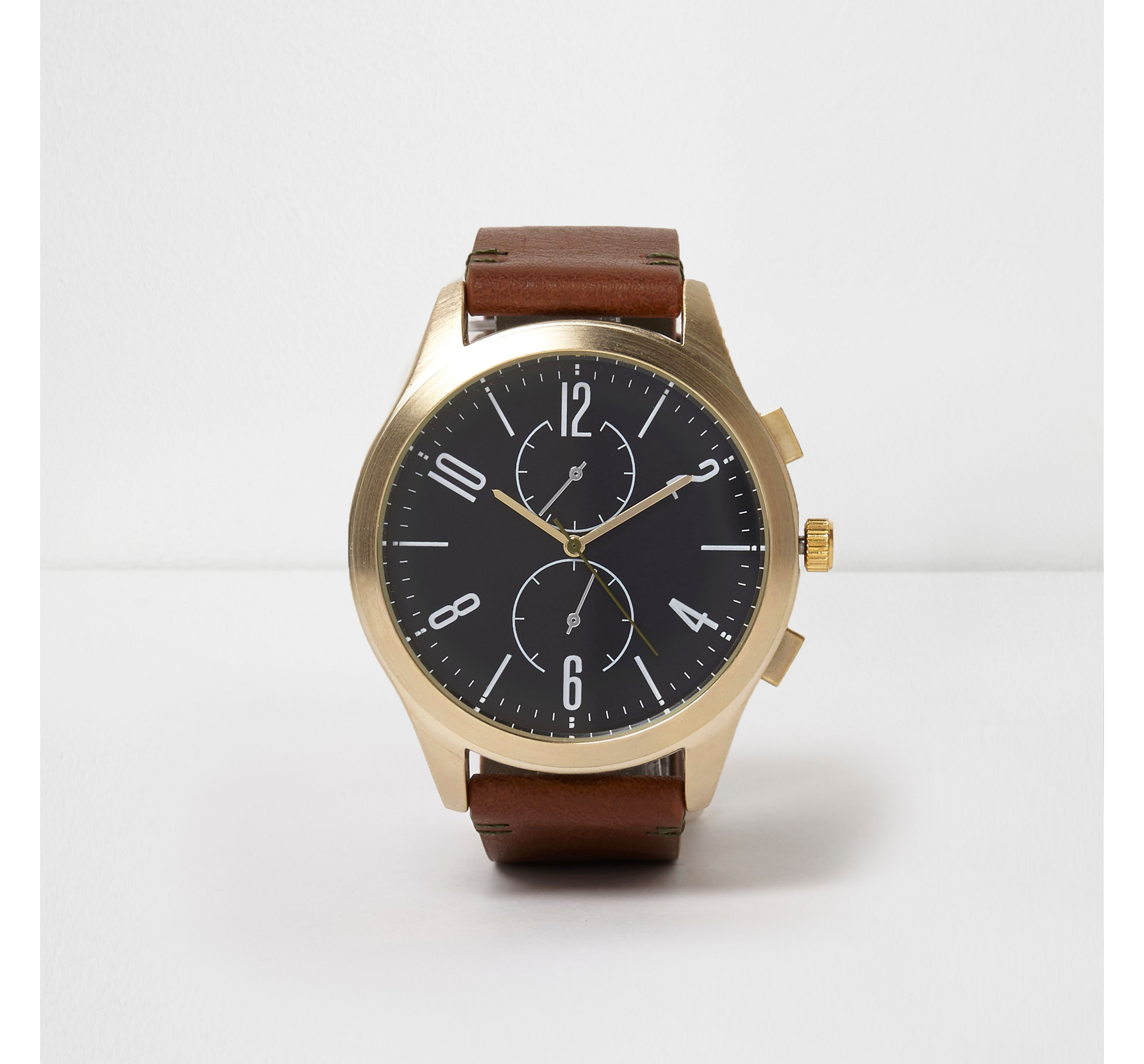 River Island Mens Tan strap gold tone round face watch