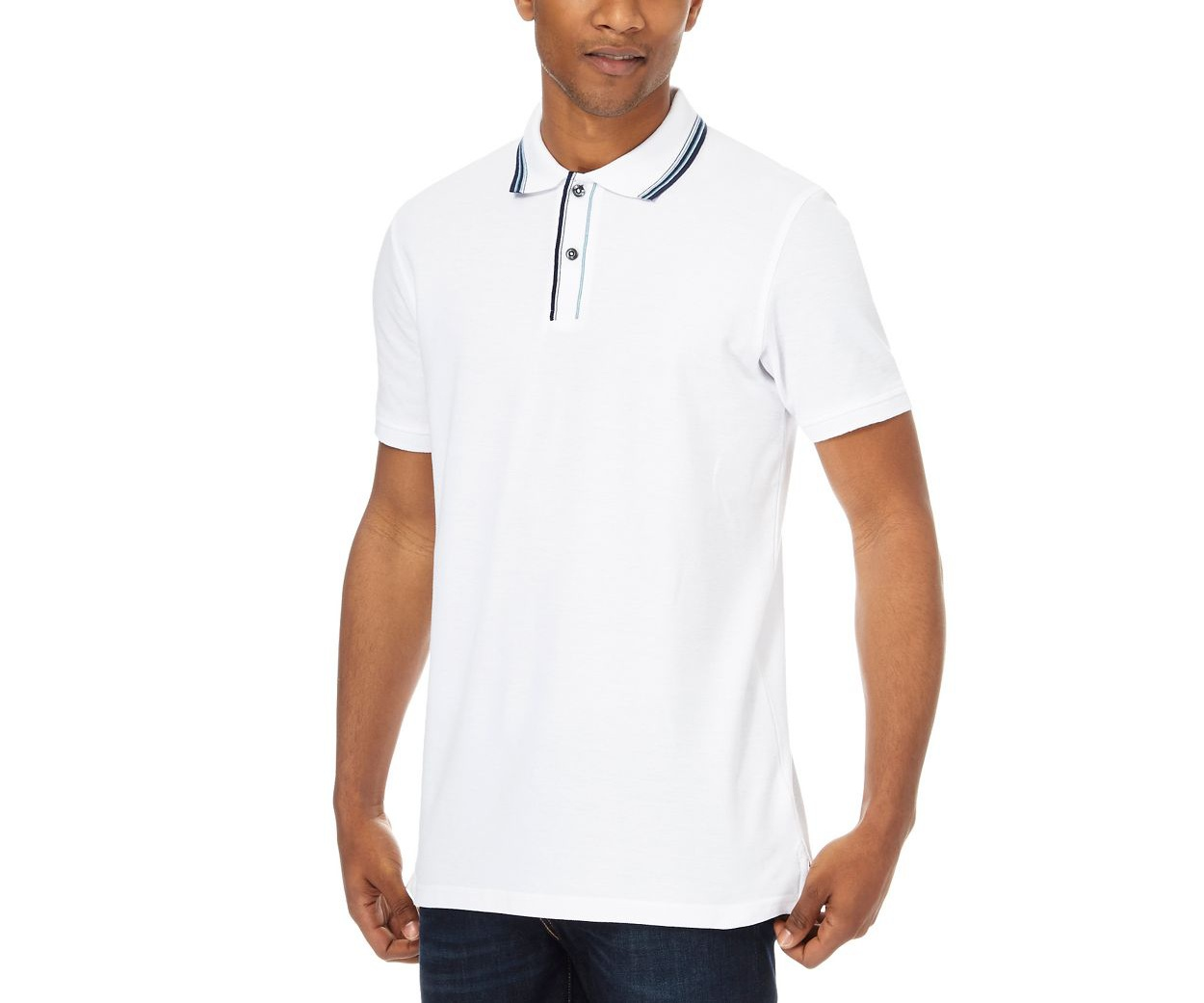 Maine New England Big and tall white tipped collar and placket polo shirt