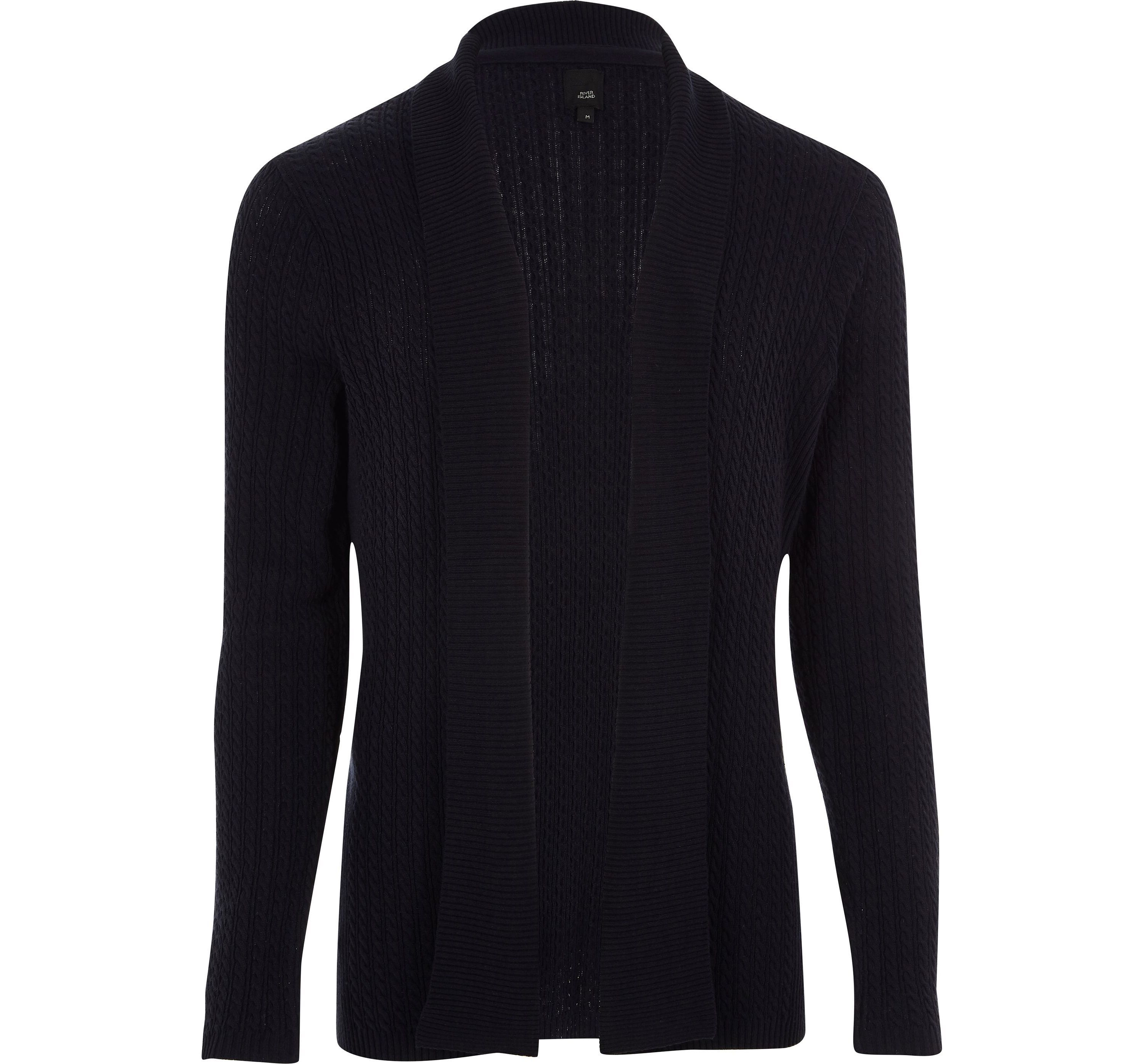 River Island Mens Big and Tall Black cable knit cardigan