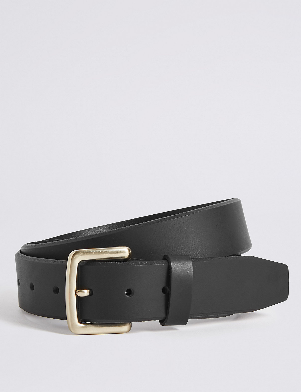 Marks & Spencer Black Leather Bevelled Edge Casual Belt