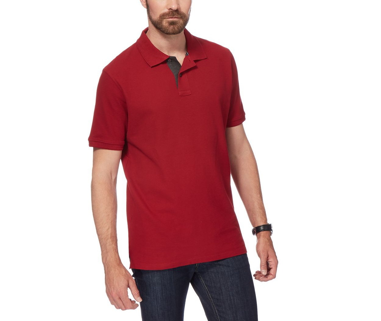 Maine New England Dark Red Big and tall dark red contrast placket pique polo shirt