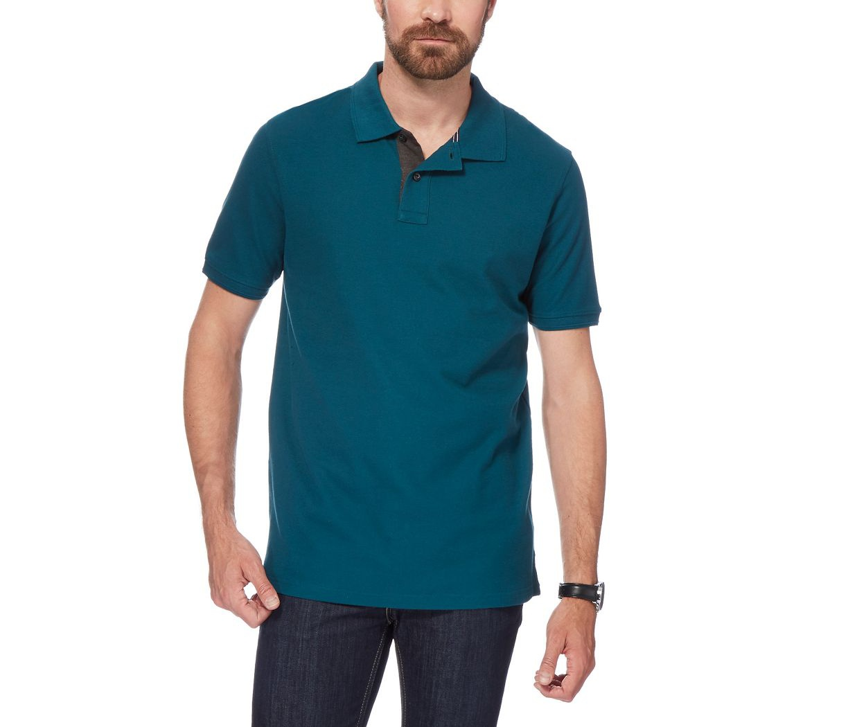 Maine New England Green contrast placket polo shirt
