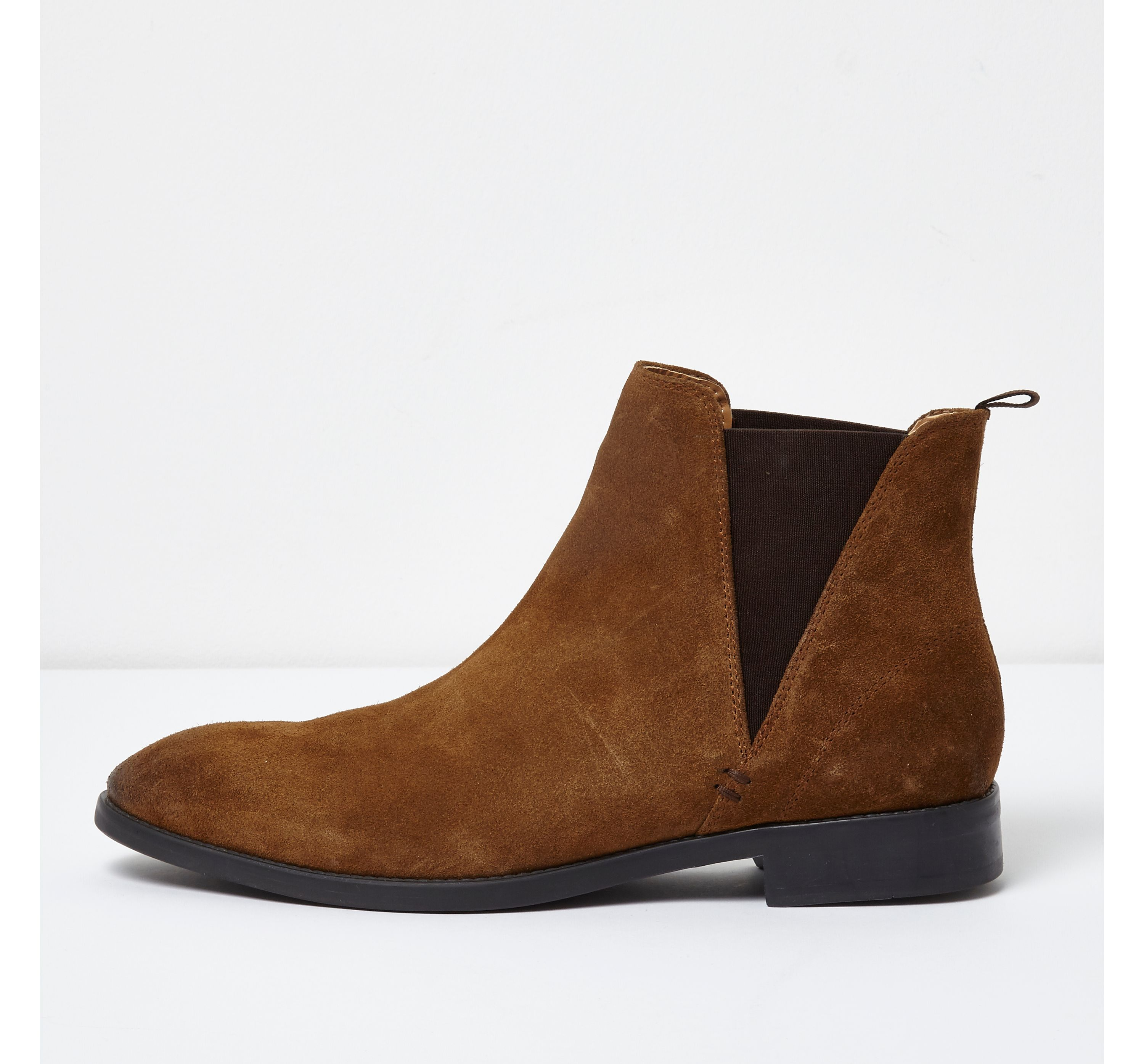 River Island Mens Tan suede chelsea boots