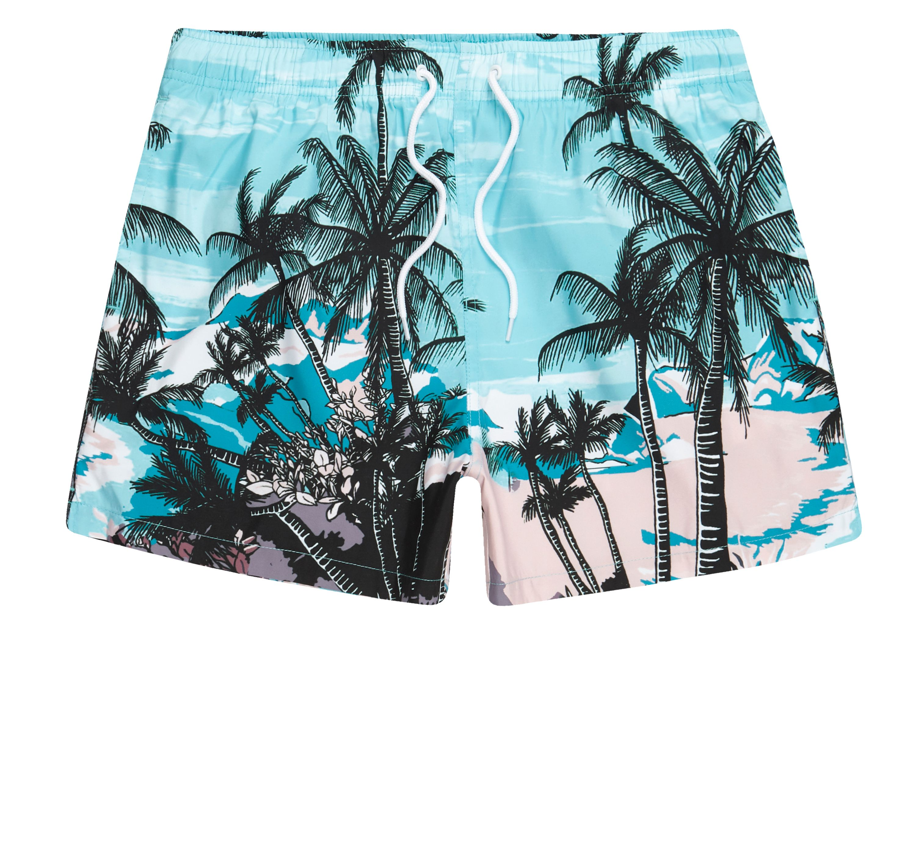 River Island Mens Blue palm tree beach scene print swim shorts