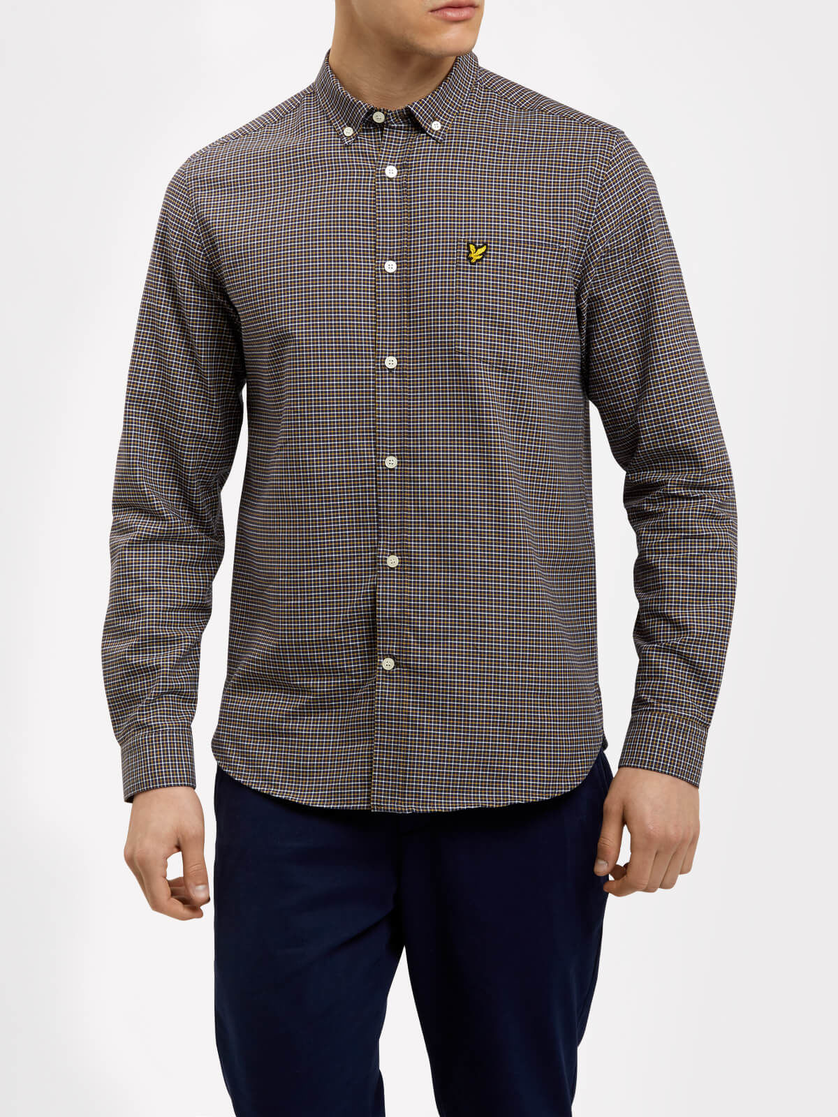 Lyle and Scott Navy Tattersall Check Shirt