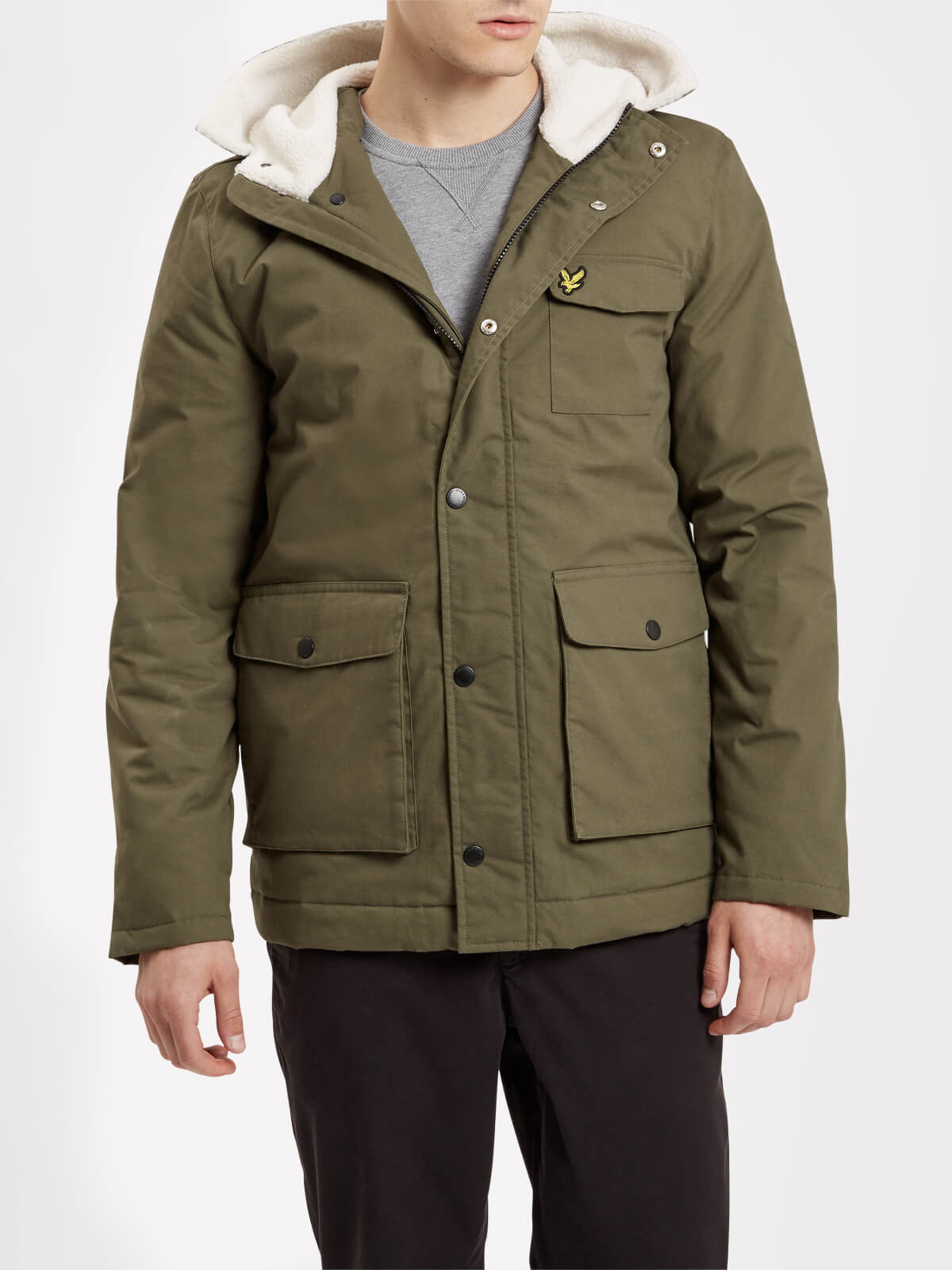 Lyle and Scott Olive Shearling Coat