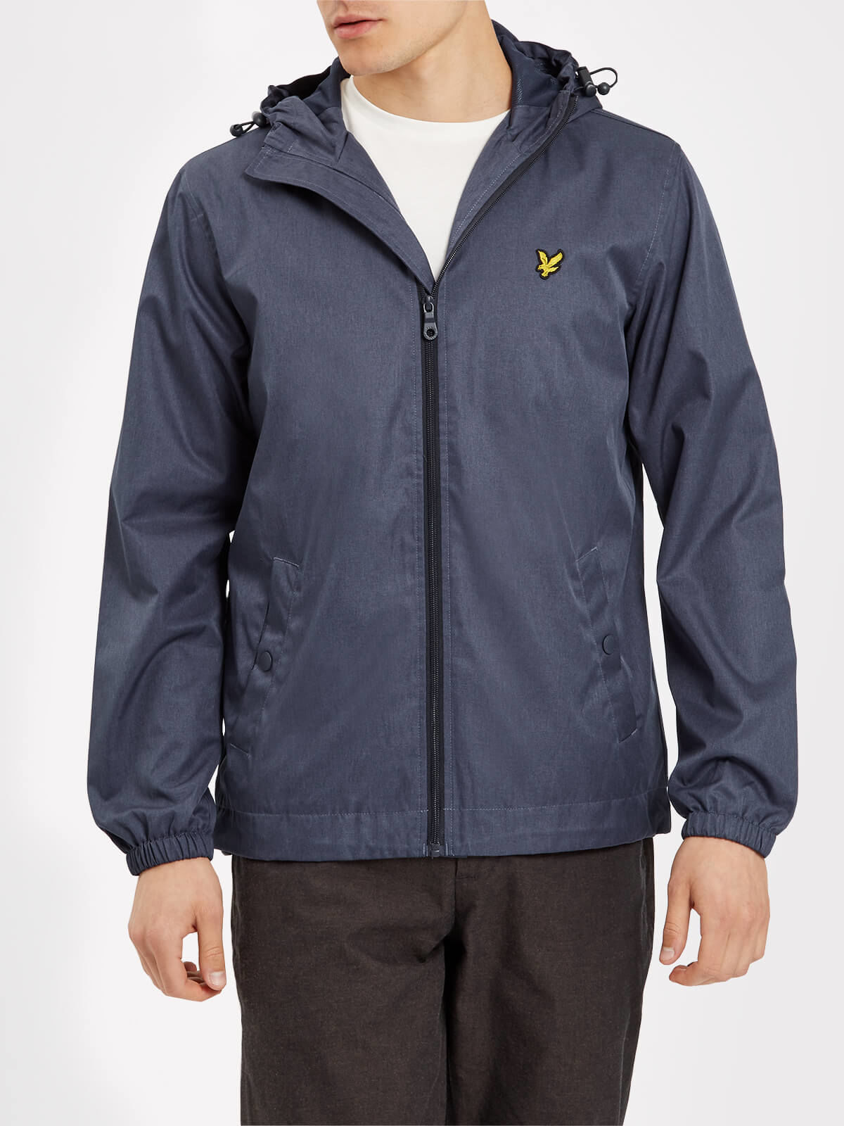 Lyle and Scott Ink Blue Marl Zip Through Hooded Marl Jacket