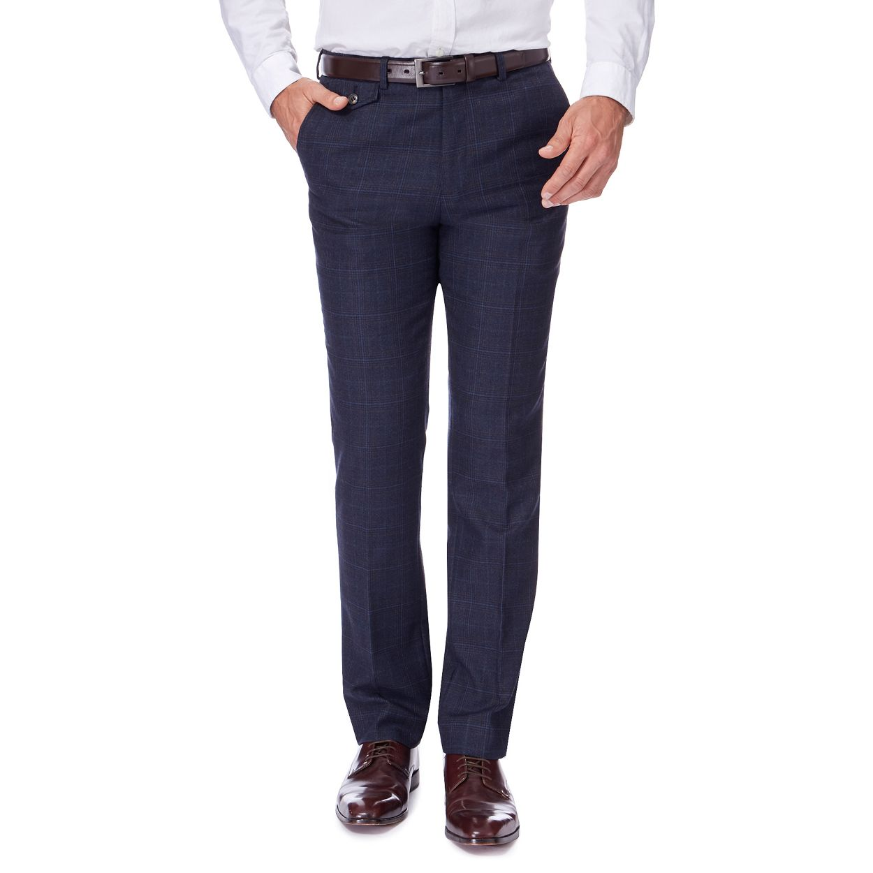 Hammond & Co. by Patrick Grant Navy checked trousers with wool