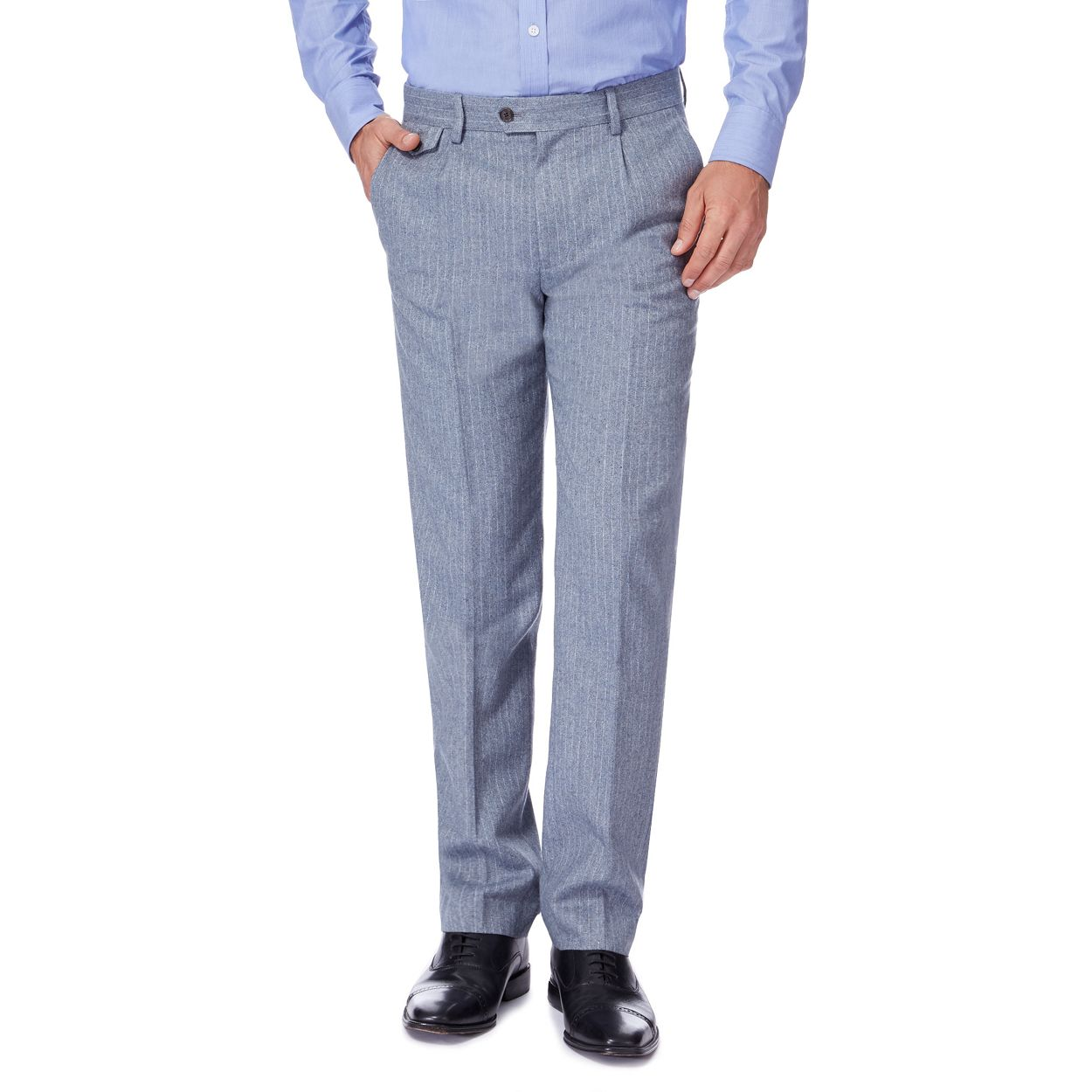 Hammond & Co. by Patrick Grant Light Blue Light blue wool blend pinstripe trousers