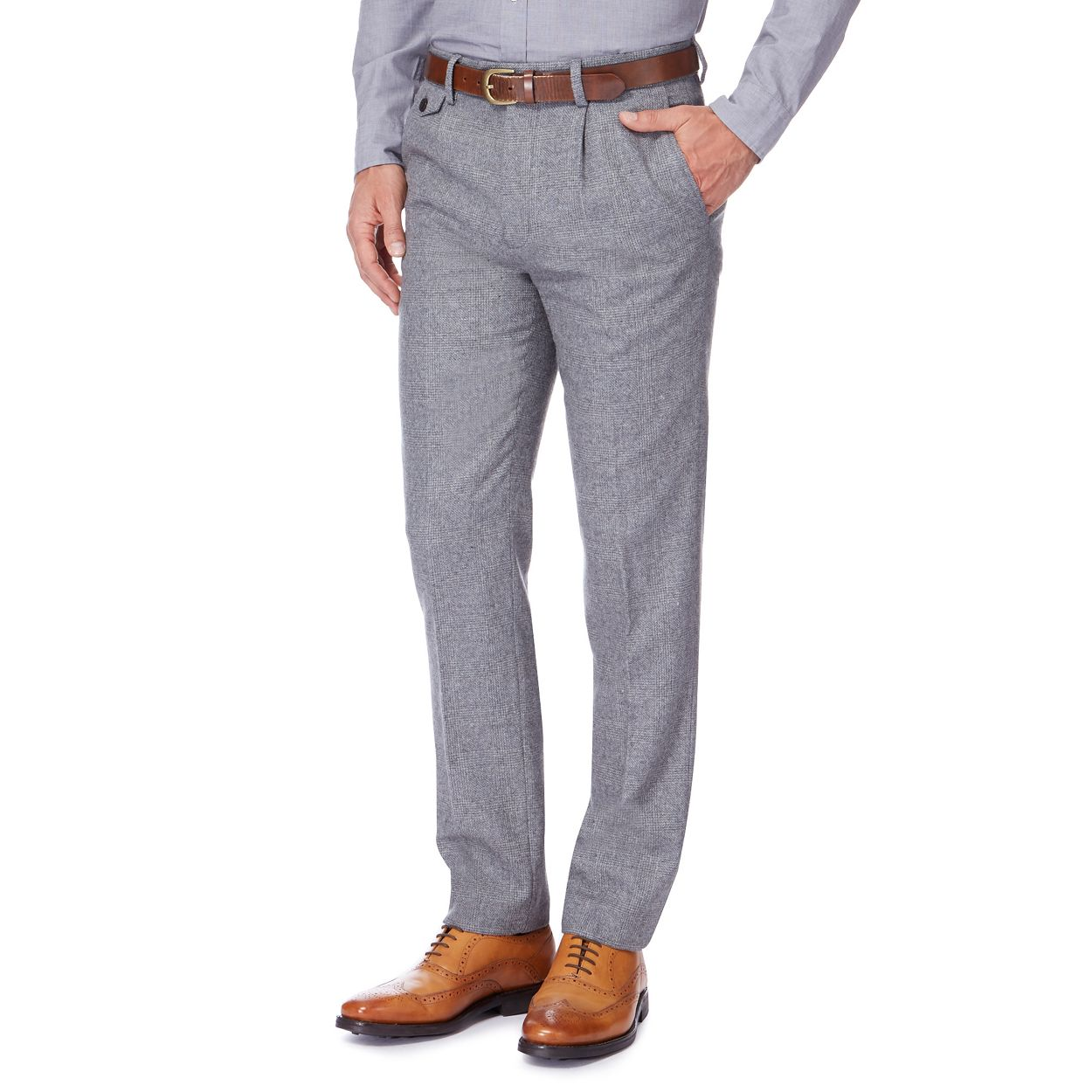 Hammond & Co. by Patrick Grant Light Grey Light grey wool blend Prince of Wales check trousers