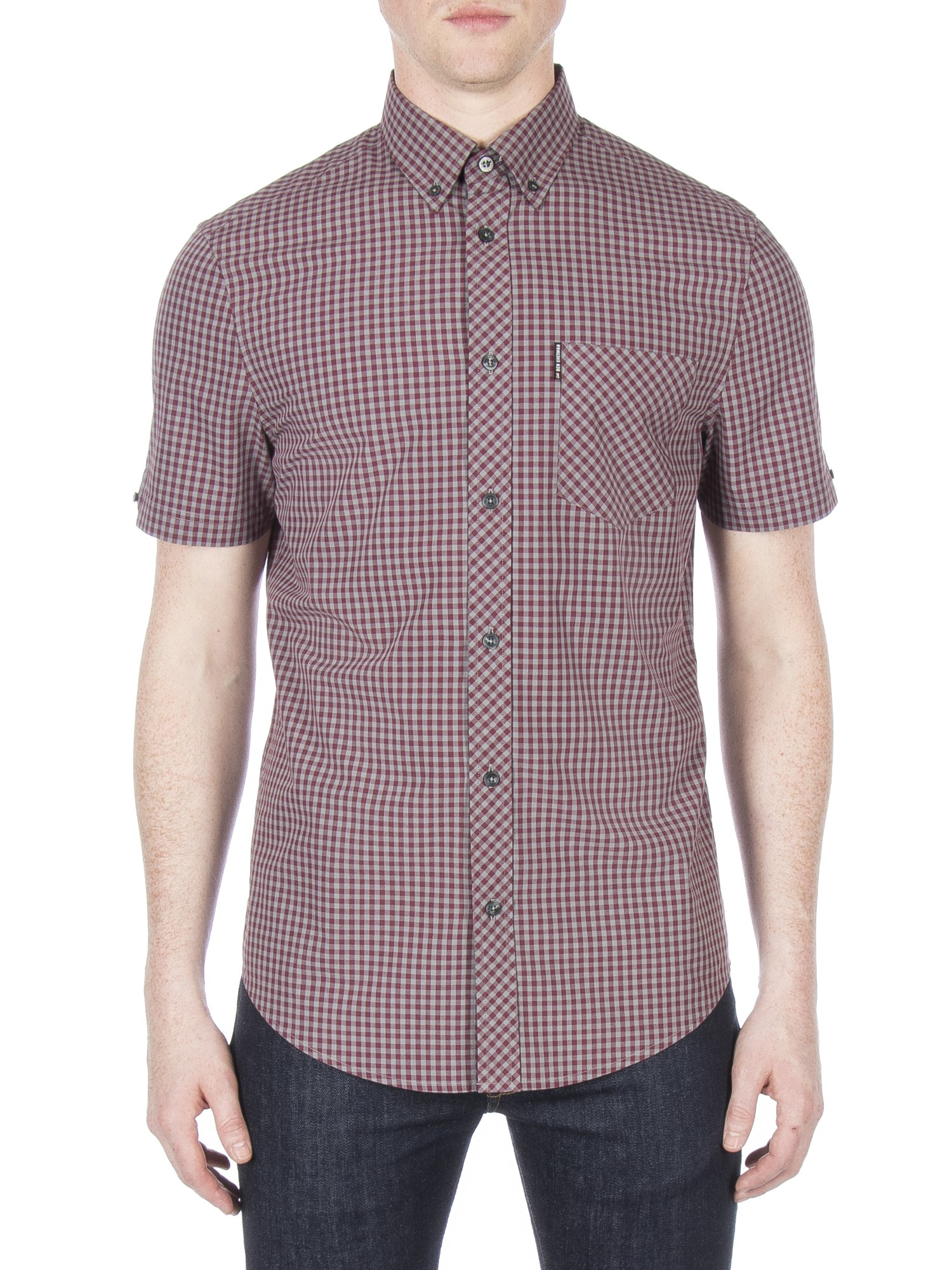 Ben Sherman Wine Short Sleeve Brushed Gingham Shirt