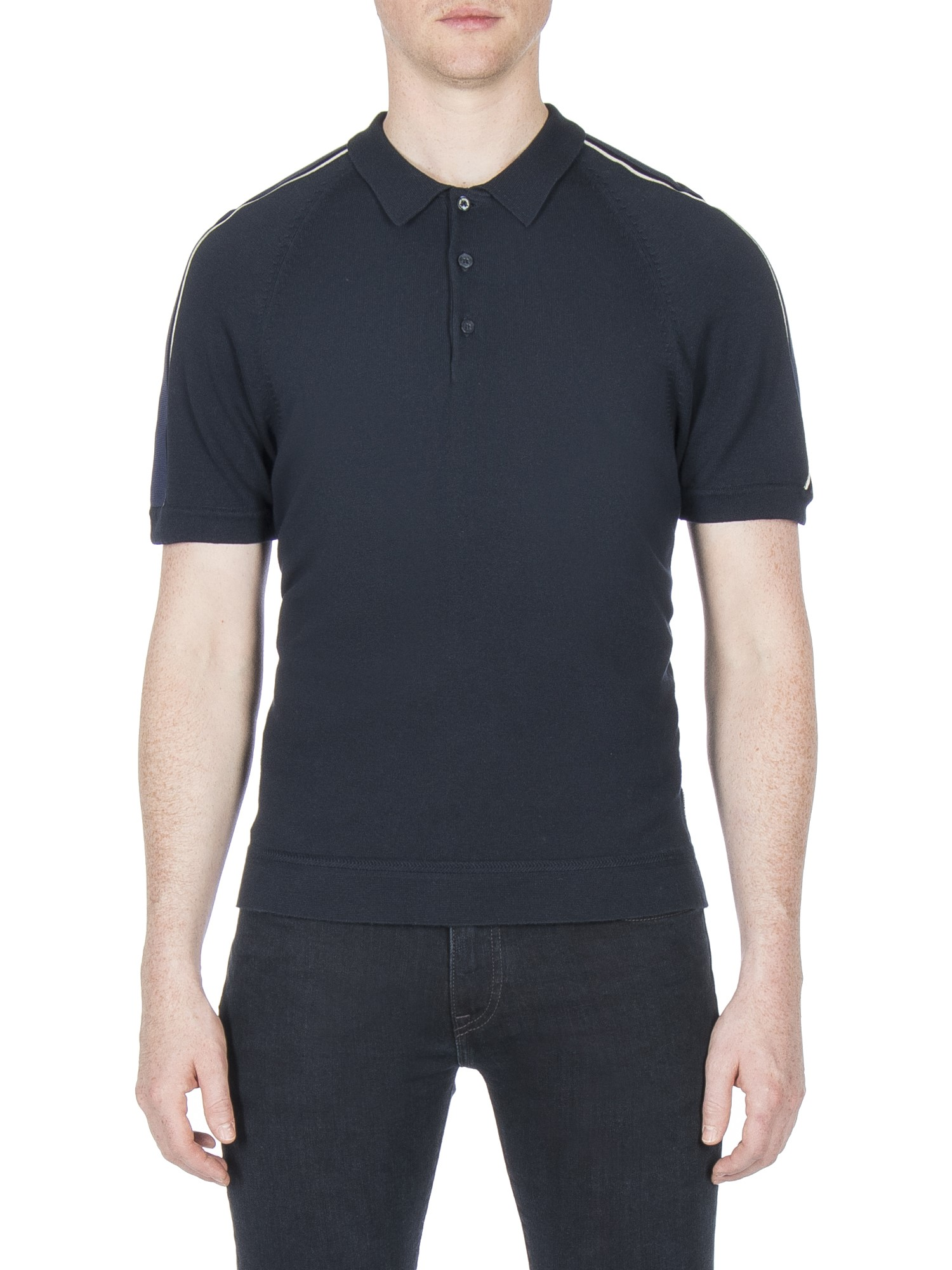 Ben Sherman Dark Navy Piped Overarm Polo Shirt Regular Fit (Mod Fit)