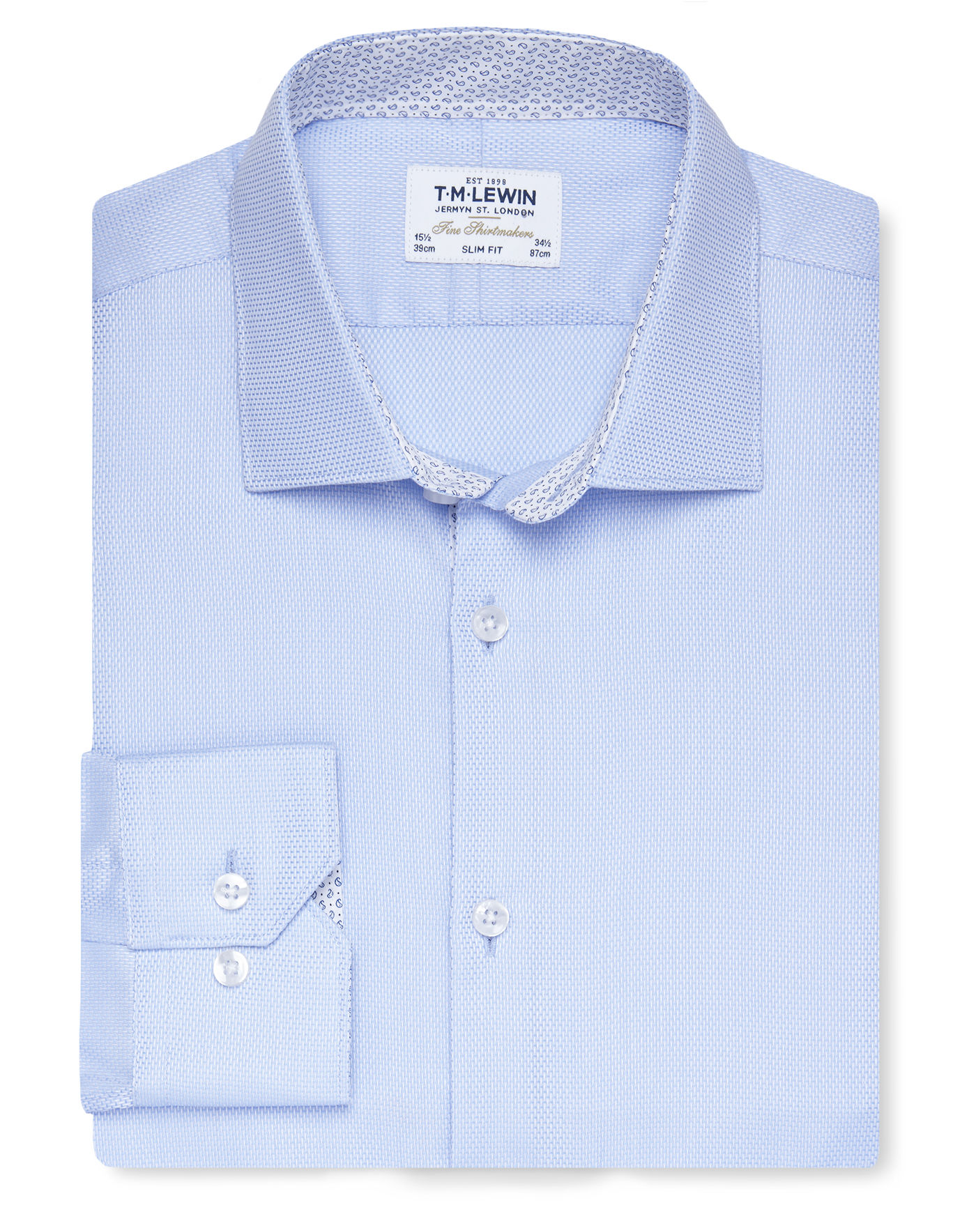 T.M.Lewin Premium Slim Fit Blue Textured Weave Shirt with Printed Trim - Button Cuff