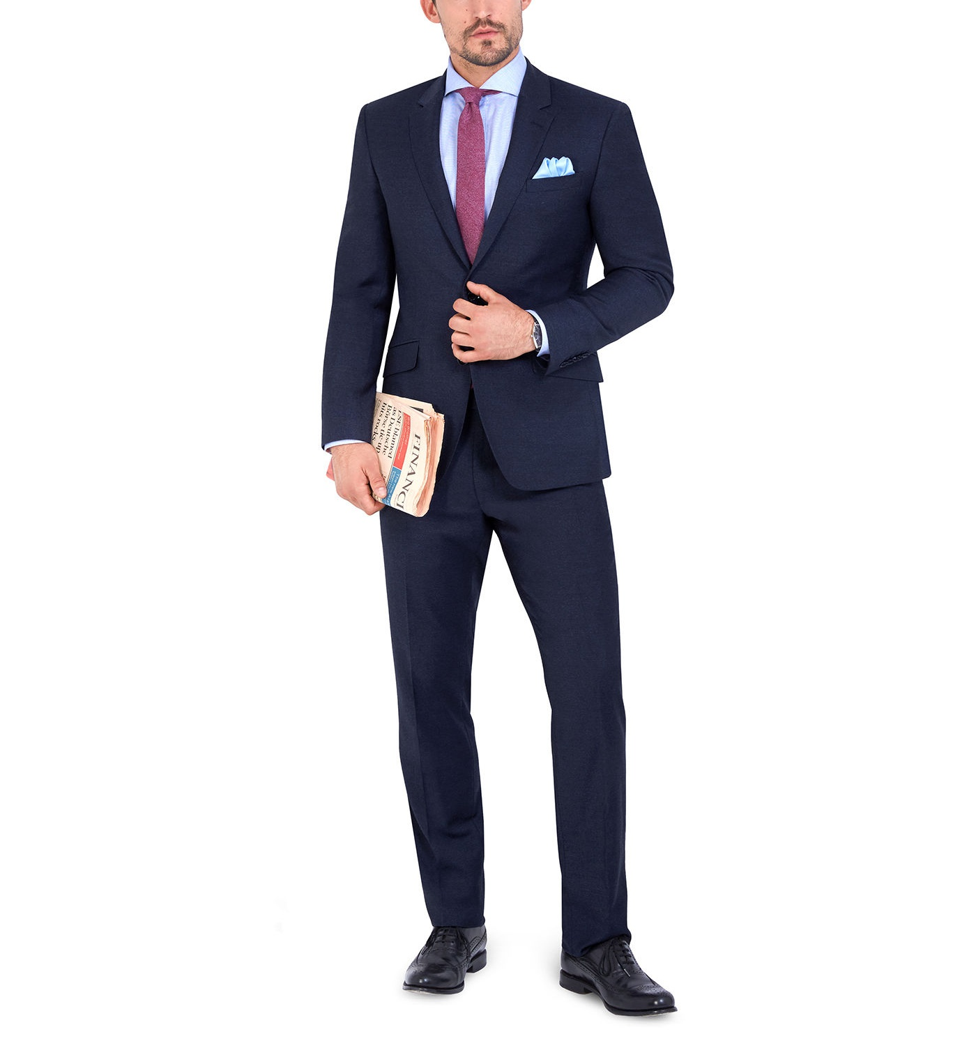 T.M.Lewin Chester Slim Fit Suit Trousers in Indigo Wool Cashmere Blend