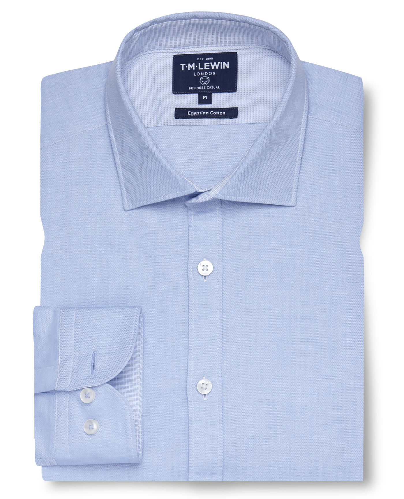 T.M.Lewin Casual Slim Fit Blue Egyptian Cotton Soft Collar Shirt