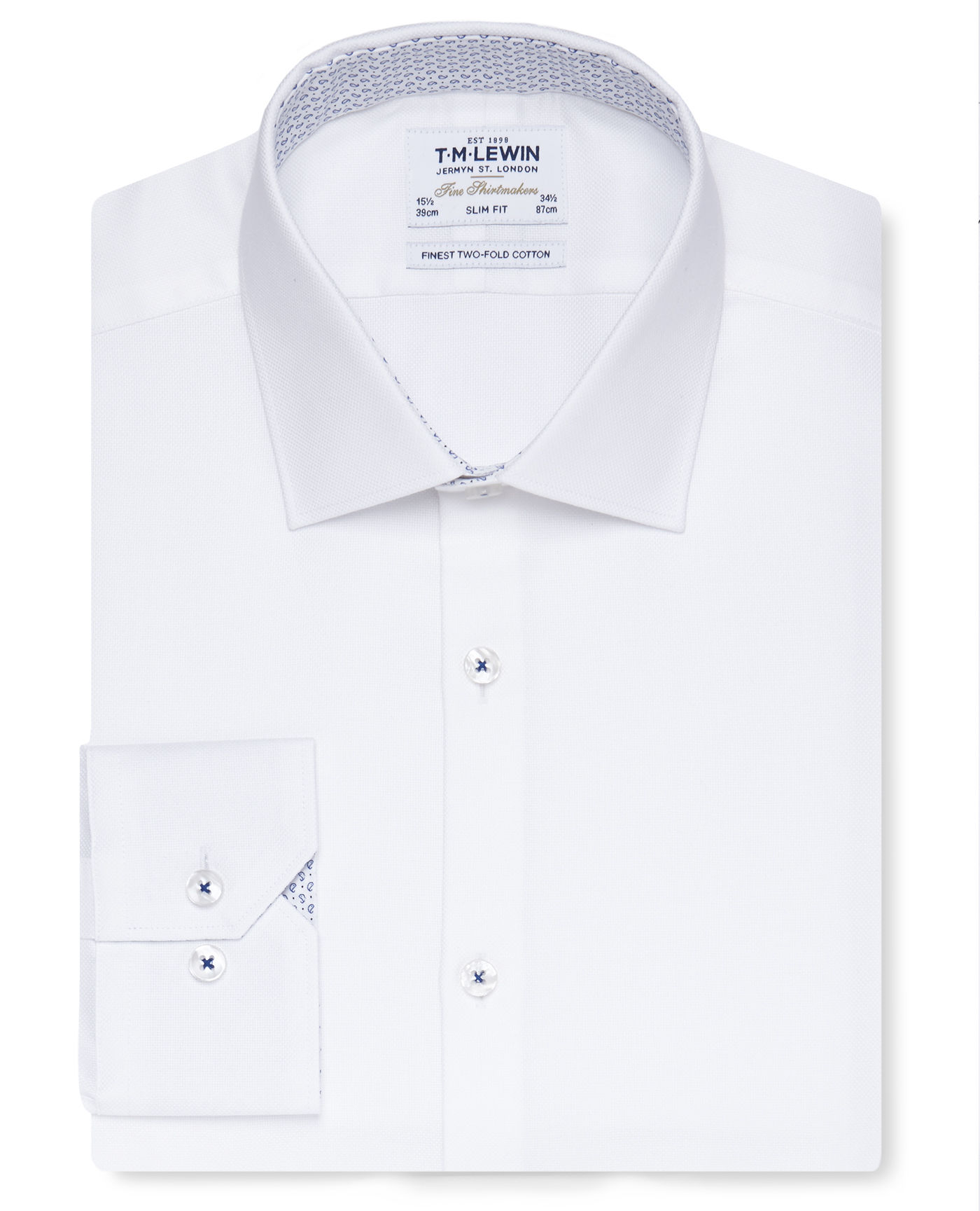 T.M.Lewin Premium Slim Fit White Oxford Shirt with Printed Trim - Button Cuff