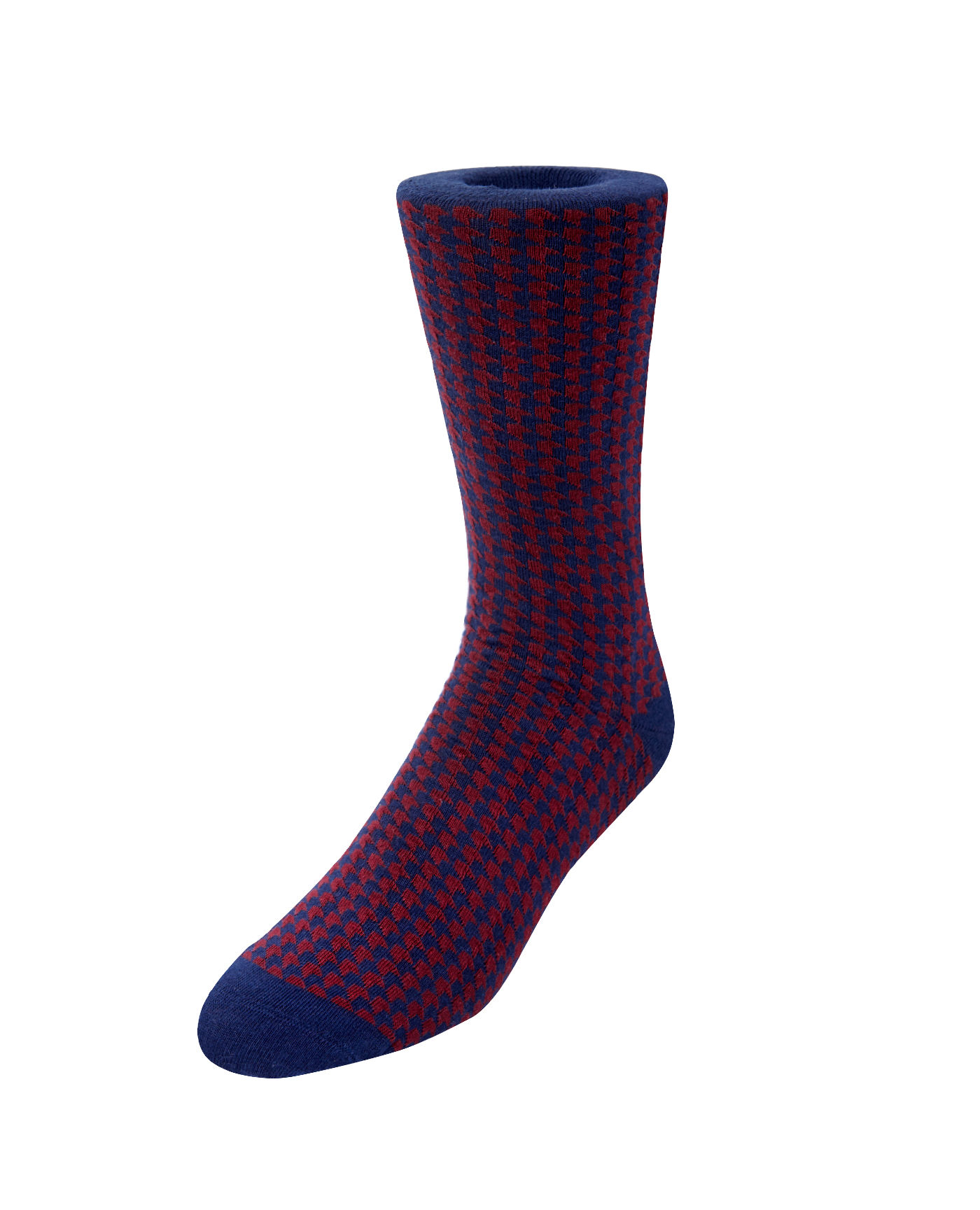T.M.Lewin Navy Burgundy Dogtooth Handlinked Socks