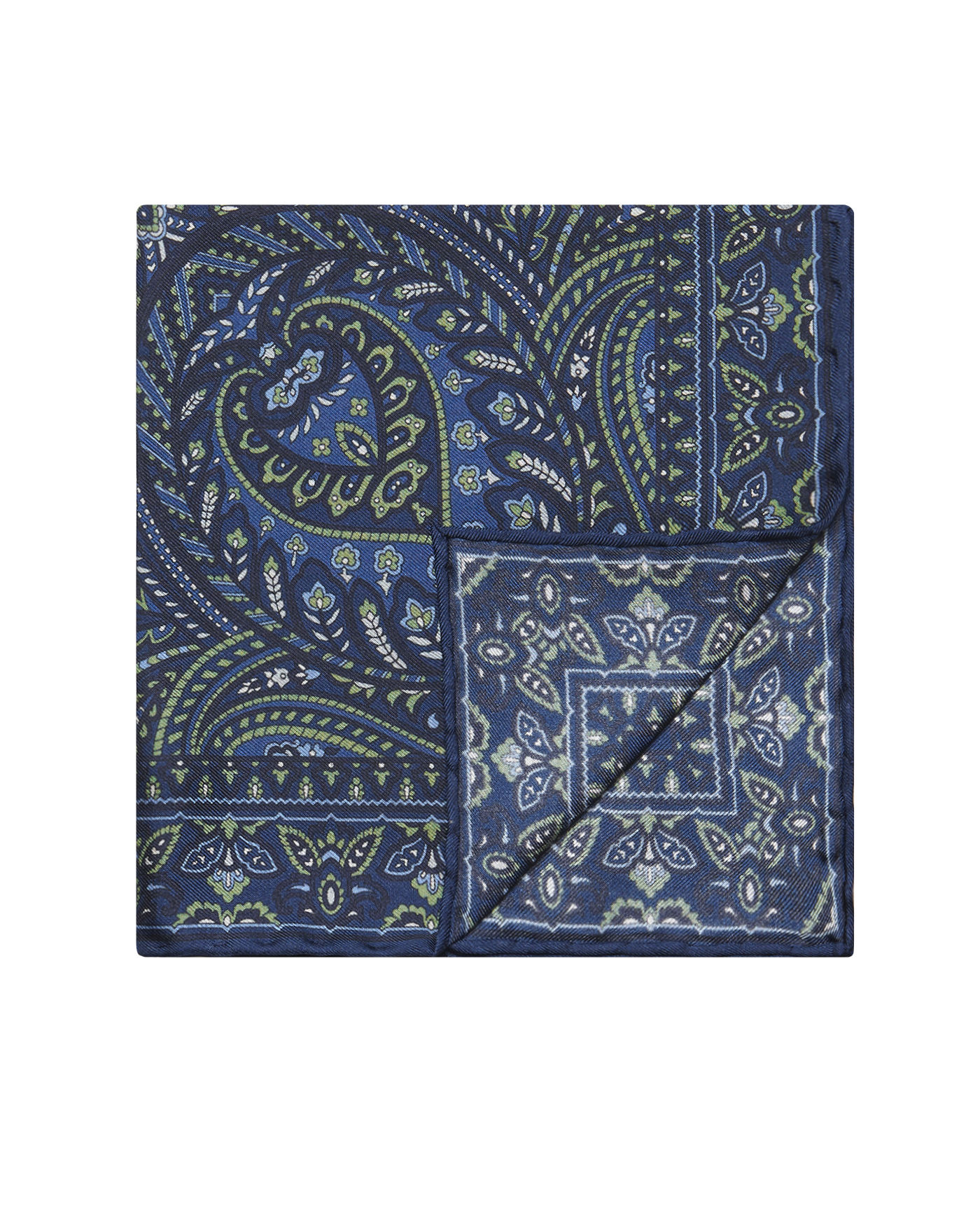 T.M.Lewin Made in Italy Navy Paisley Silk Pocket Square