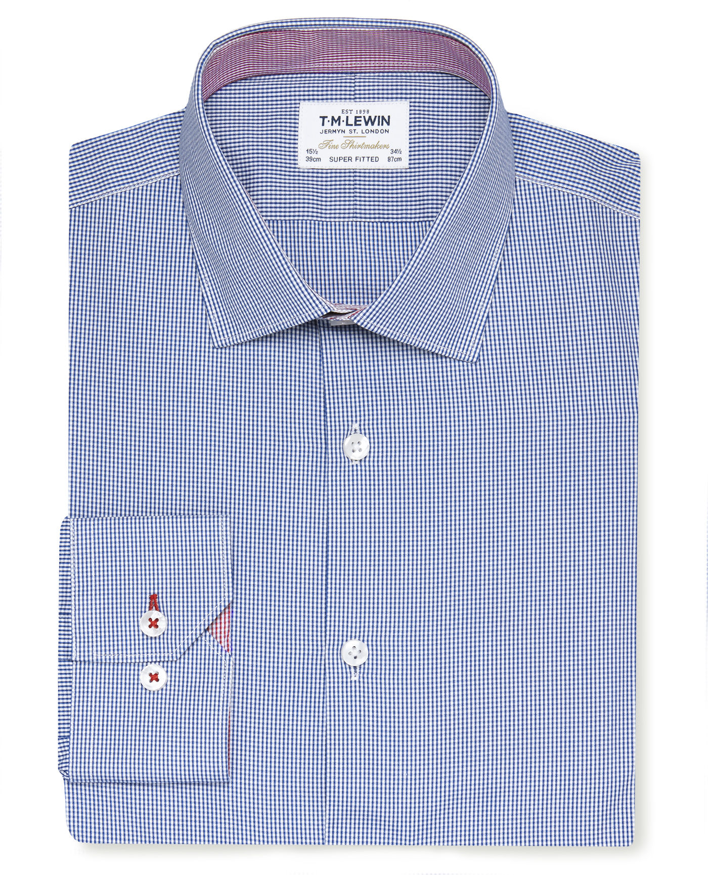 T.M.Lewin Premium Super Fitted Navy Gingham Shirt with Contrast Trim - Button Cuff