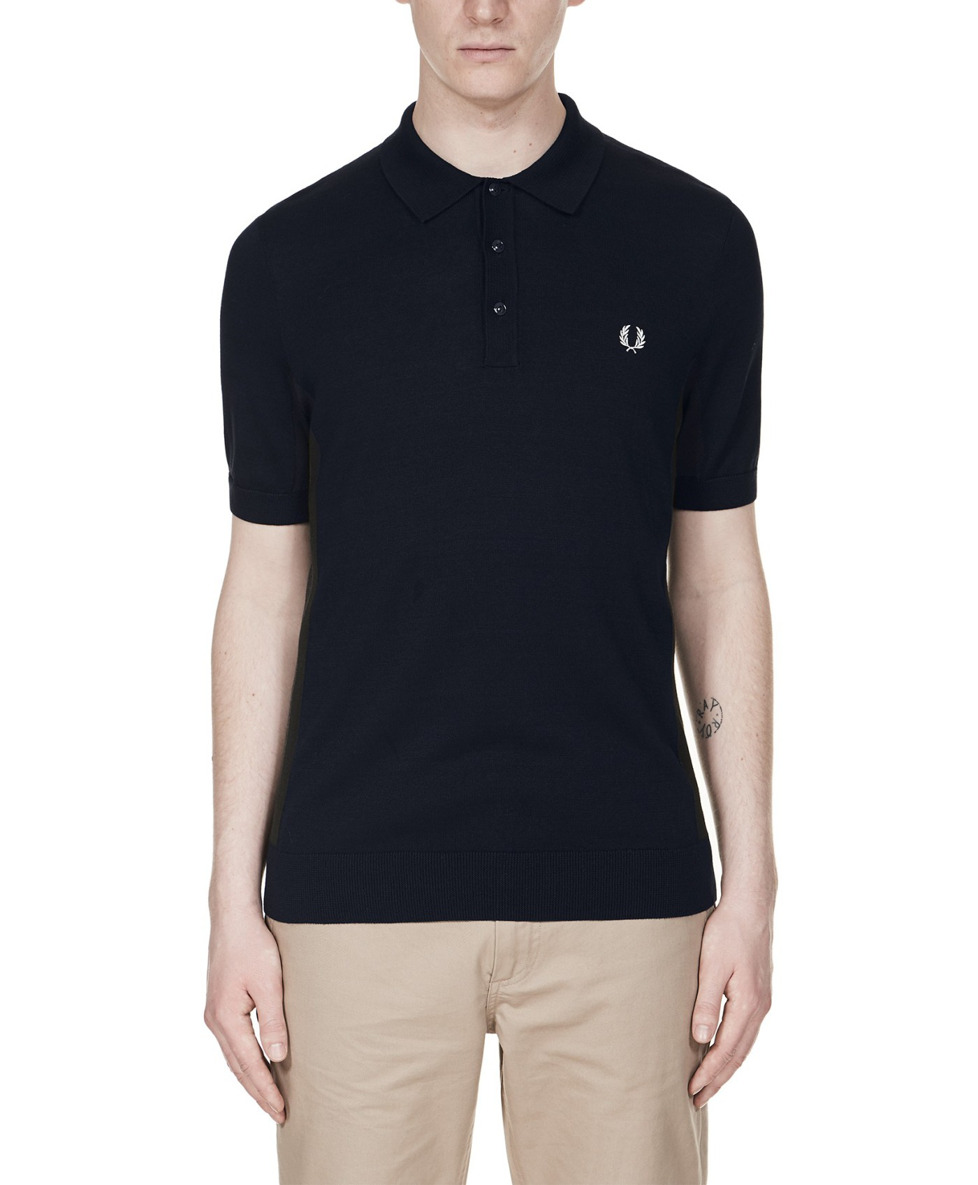 Fred Perry Striped Panel Knitted Shirt