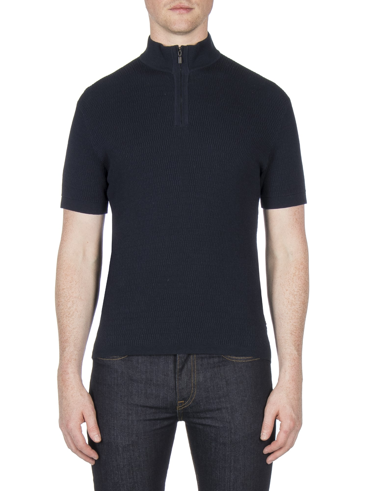 Ben Sherman Navy Funnel Neck Knitted Polo Regular Fit (Mod Fit)