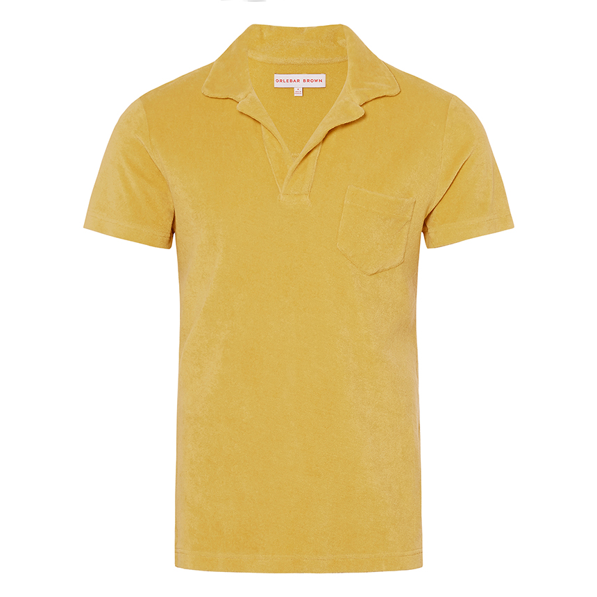 Orlebar Brown TERRY Fawn Towelling Resort Polo