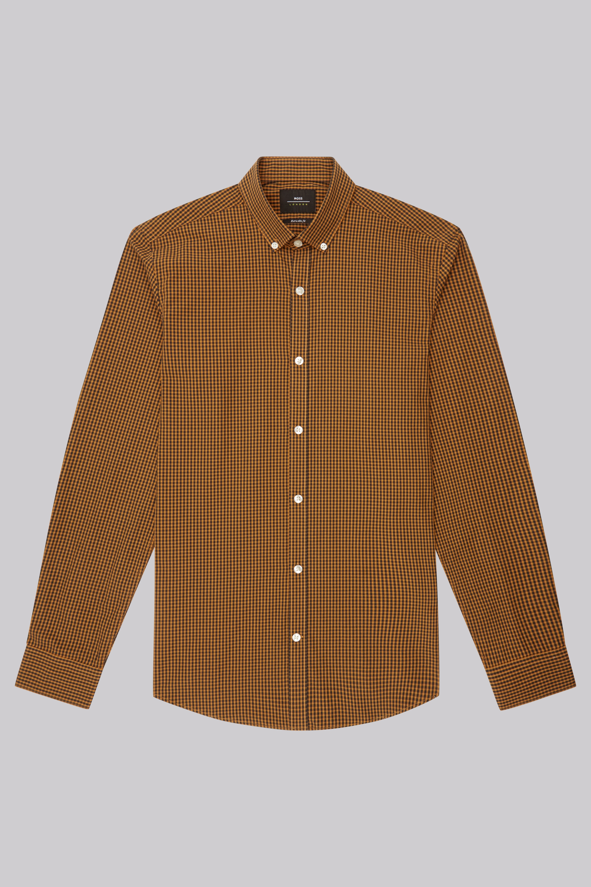 Moss Bros Moss London Extra Slim Fit Mustard Dobby Check Button Down Casual Shirt