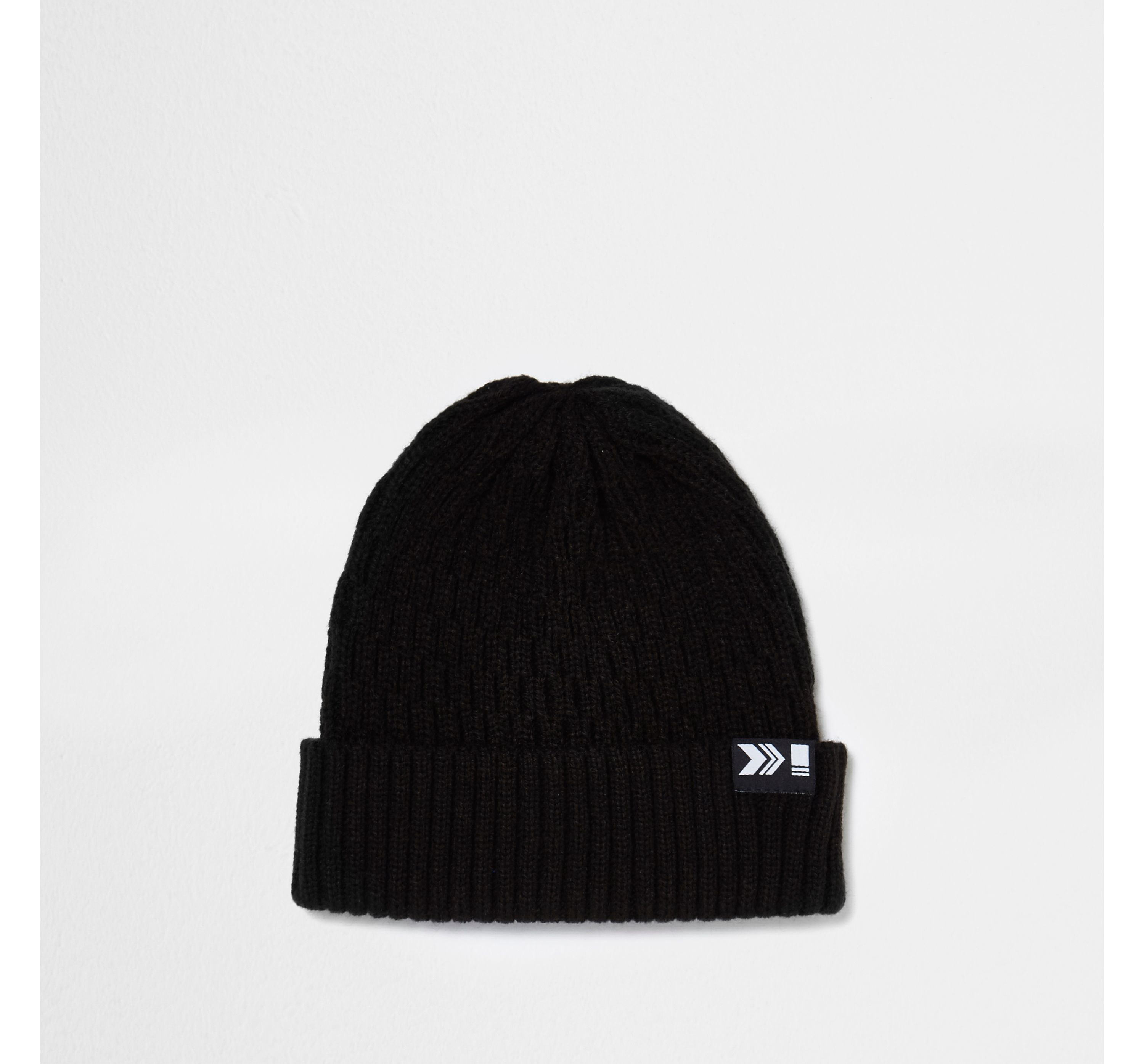 River Island Mens Black ribbed fisherman beanie hat
