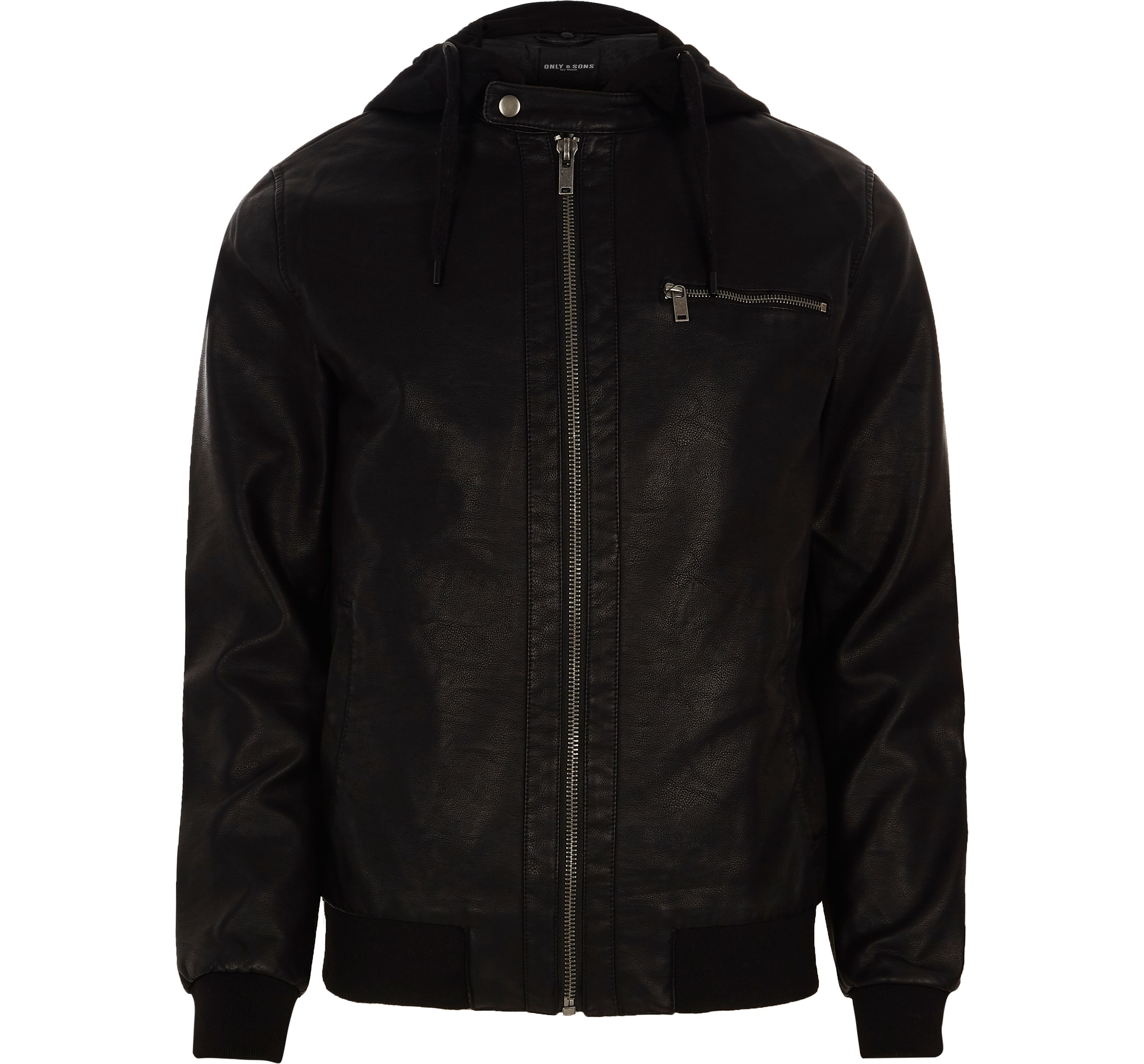 River Island Mens Black Only and Sons faux leather hooded jacket
