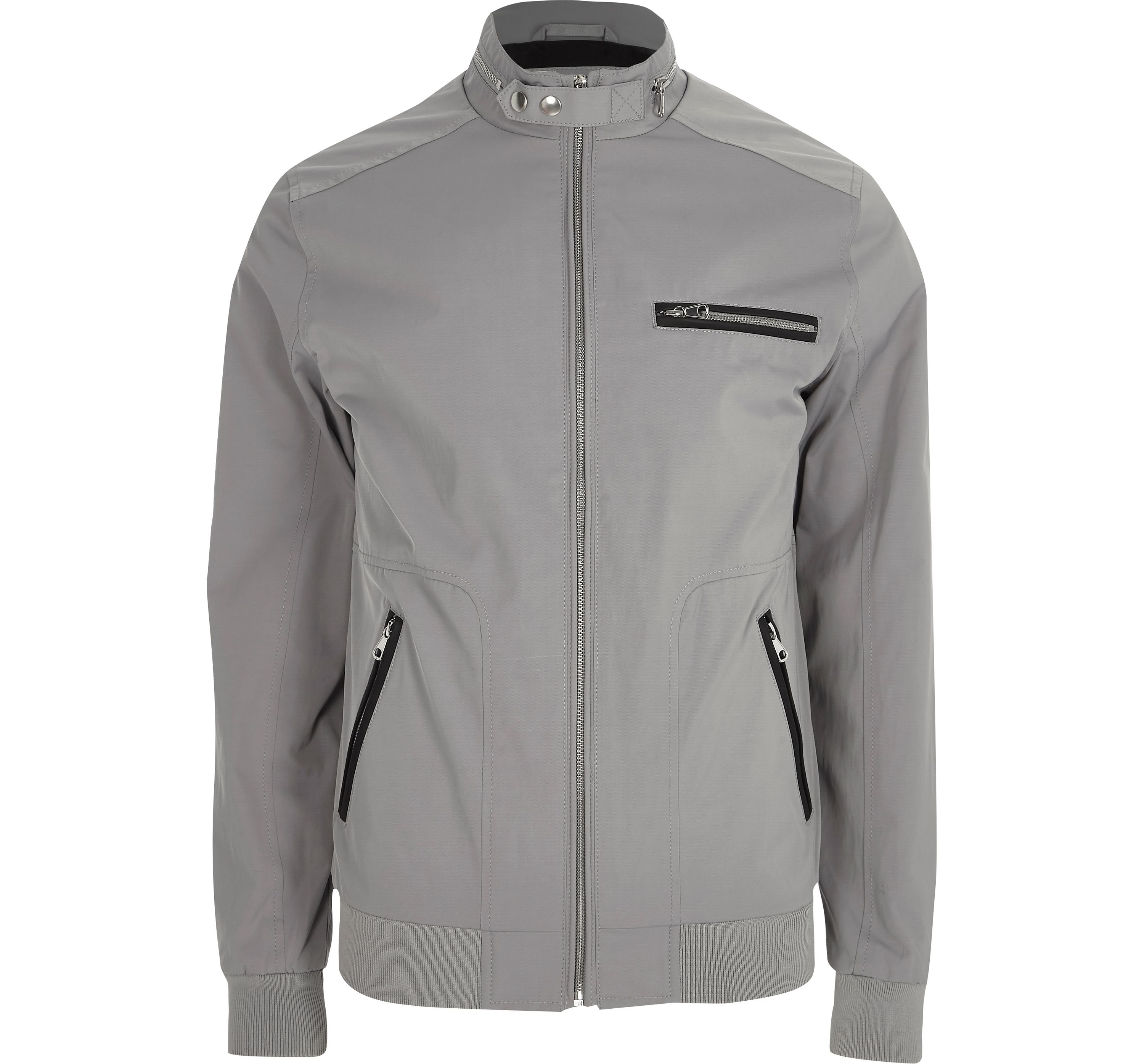 River Island Mens Grey racer neck lightweight jacket
