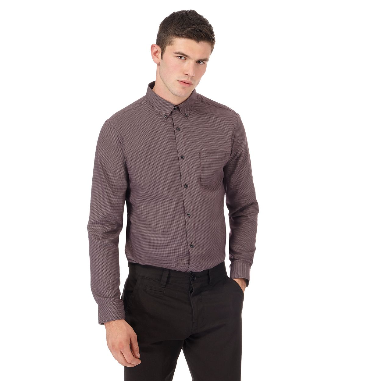 Red Herring Wine Dark red puppytooth slim fit shirt
