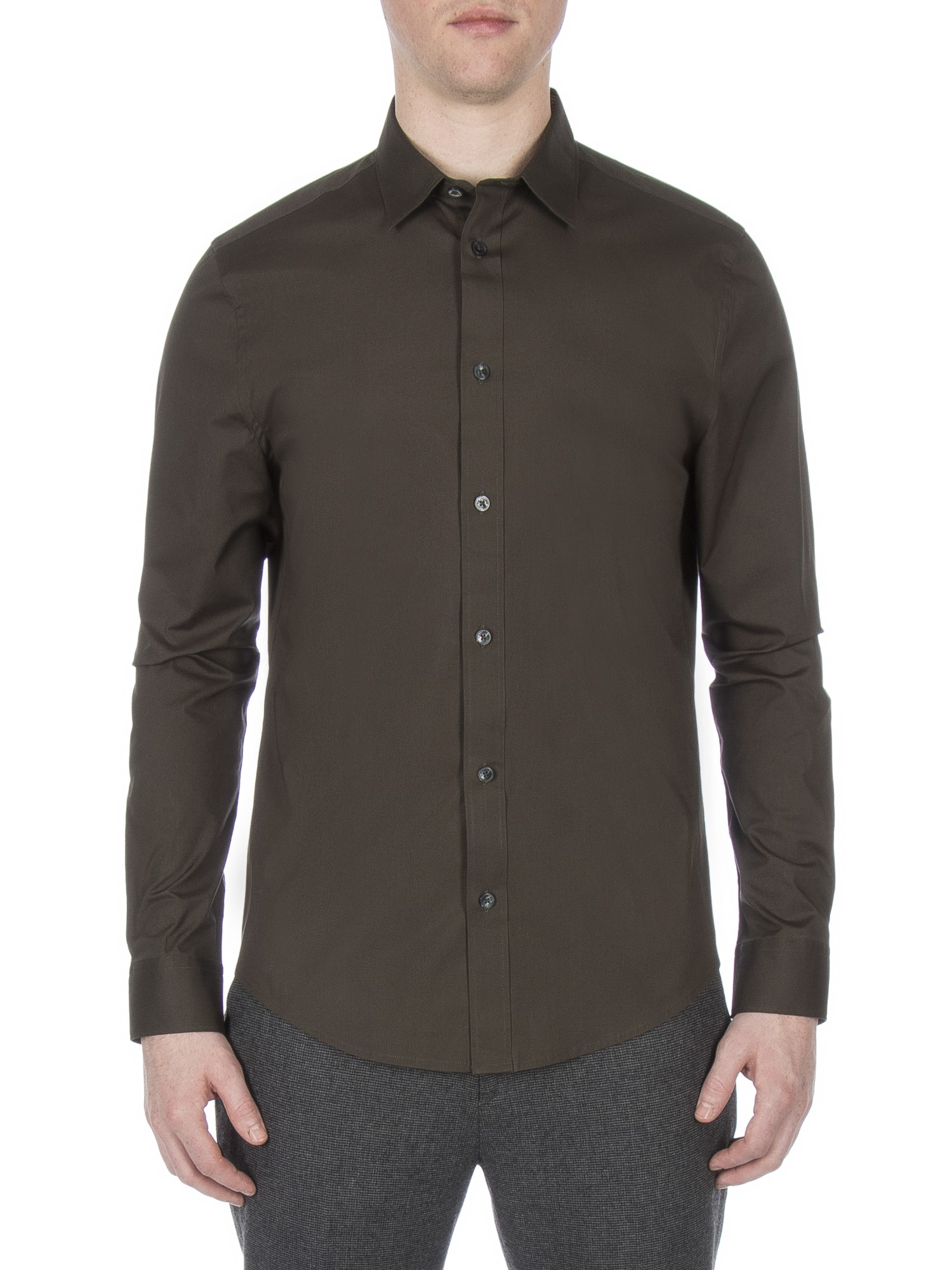 Ben Sherman Peat Long Sleeve Stretch Poplin Shirt Slim Fit